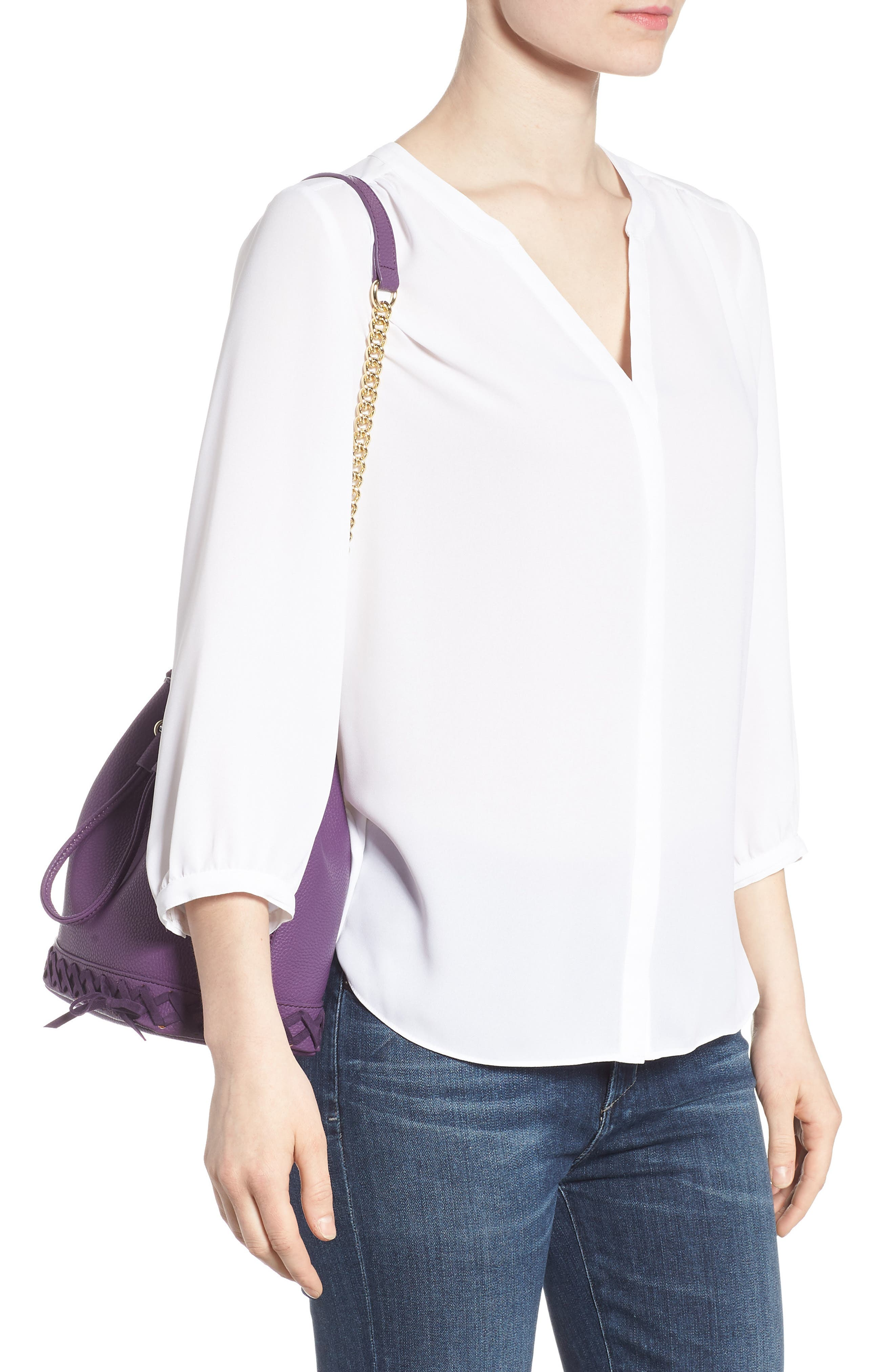 Veronica Faux Leather Bucket Bag,                             Alternate thumbnail 2, color,                             Purple
