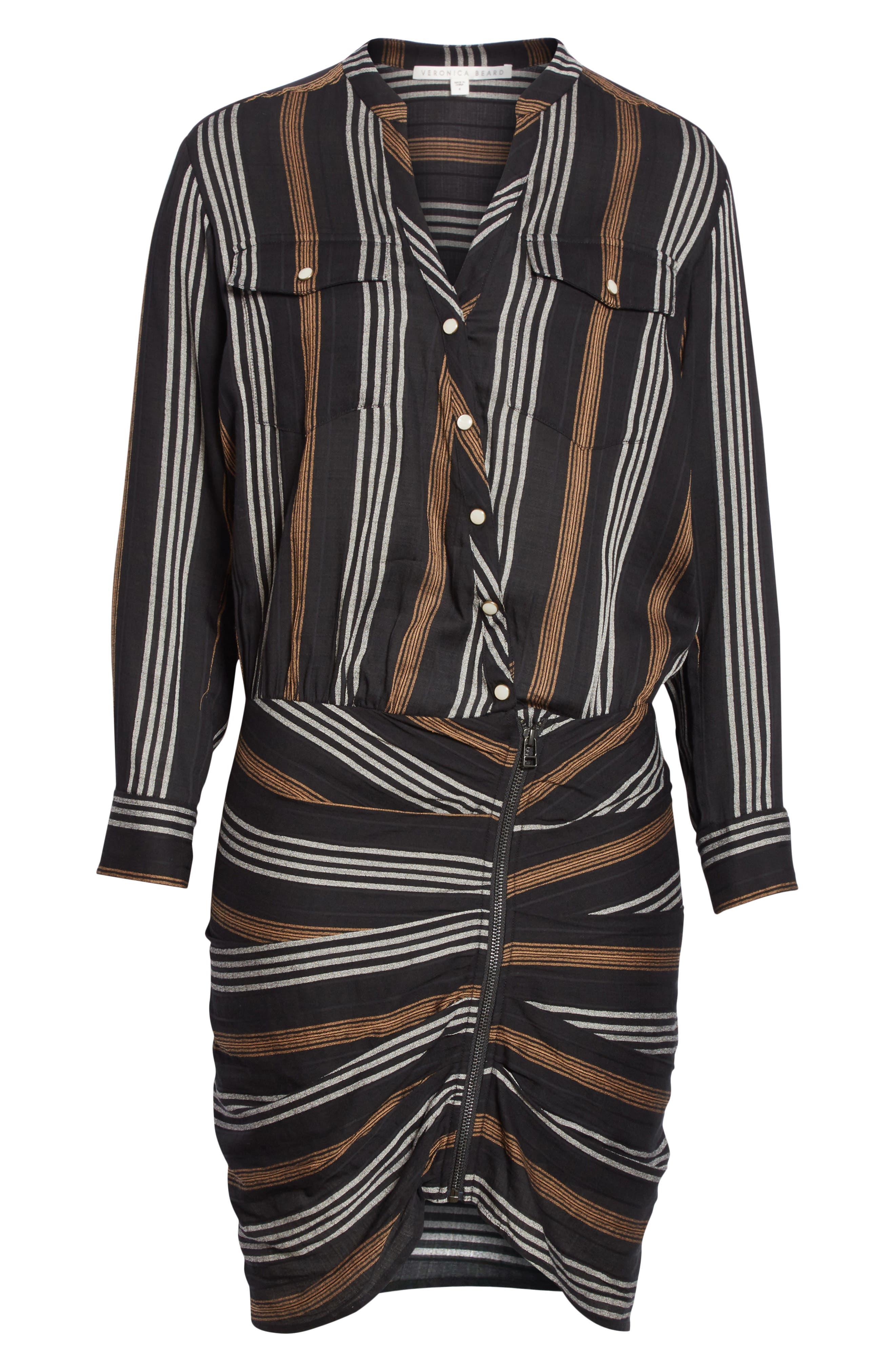 Emory Stripe Shirtdress,                             Alternate thumbnail 6, color,                             Black Multi