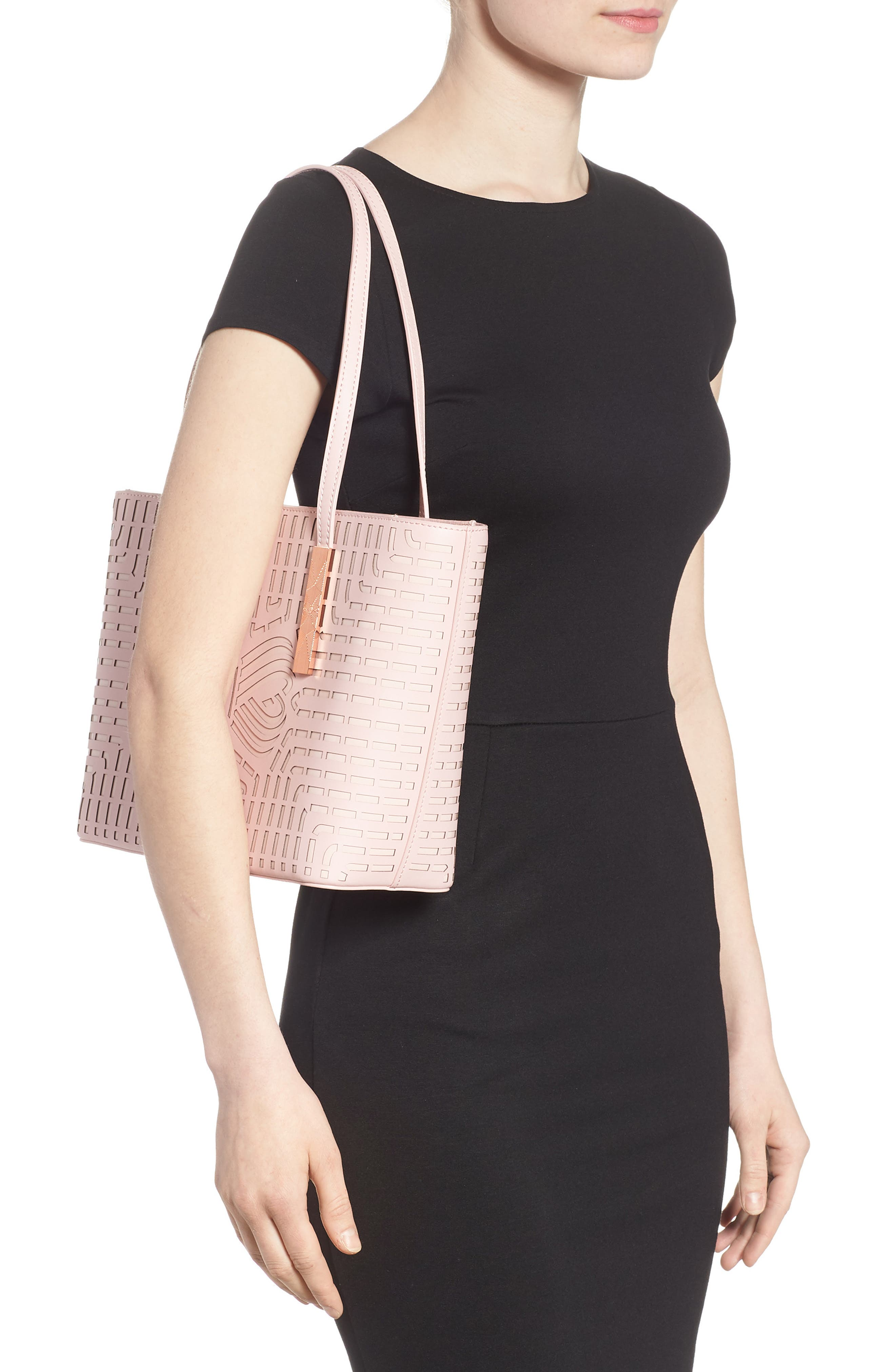 Breanna Perforated Bow Leather Shopper,                             Alternate thumbnail 2, color,                             Light Pink