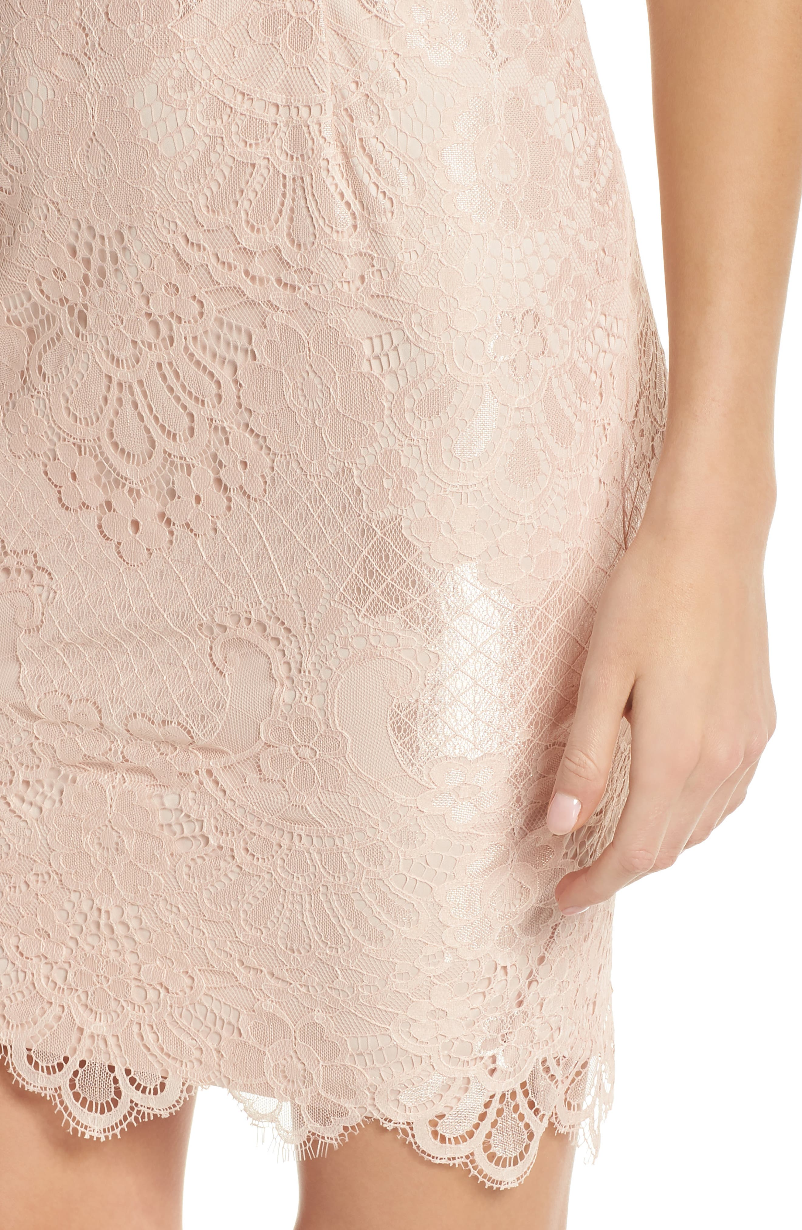 Lace Sheath Dress,                             Alternate thumbnail 4, color,                             Blush