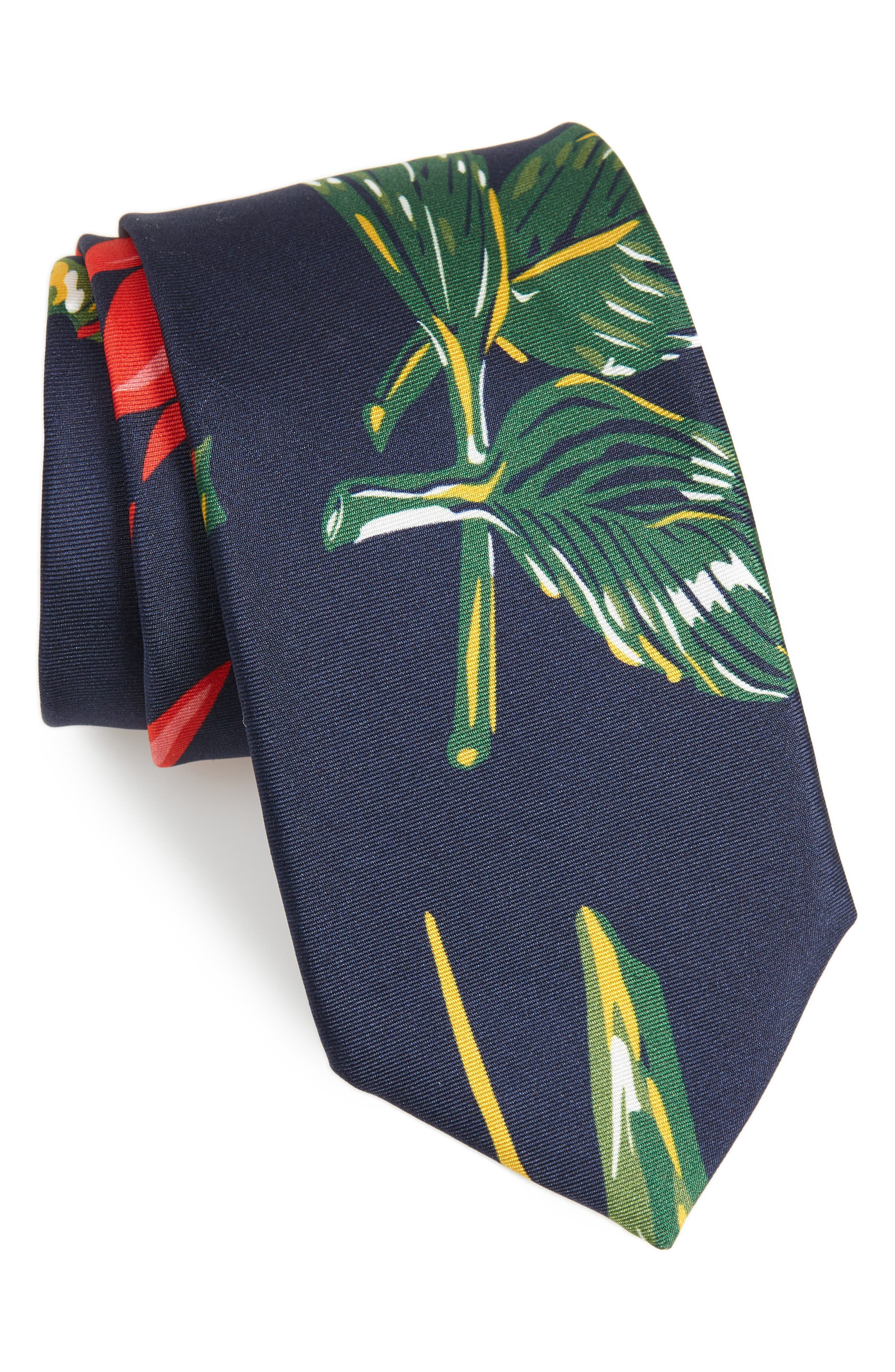 Birds Of Paradise Floral Silk Tie,                             Main thumbnail 1, color,                             Scarlet/Navy