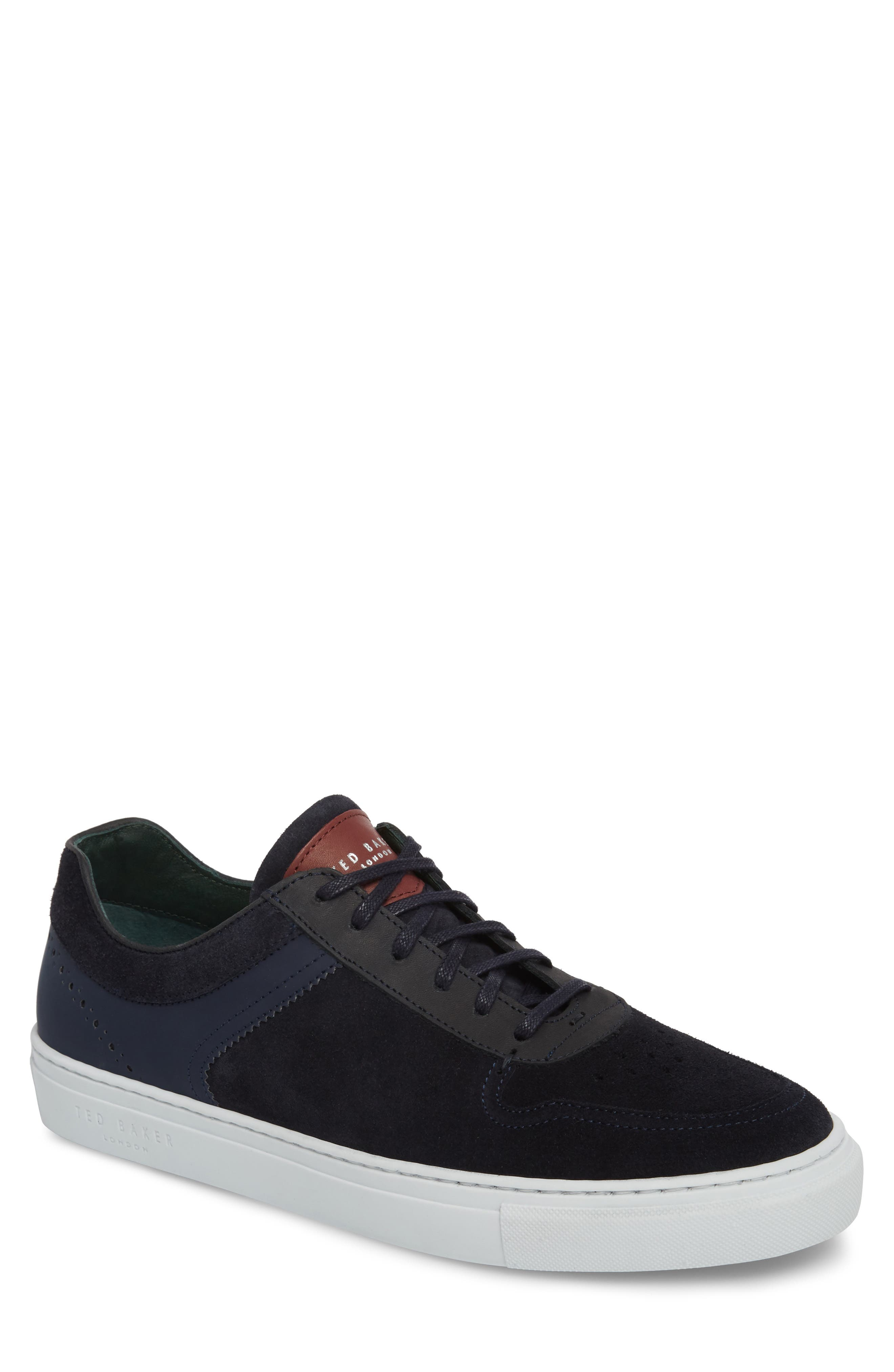 Burall Sneaker,                         Main,                         color, Dark Blue Suede/ Textile