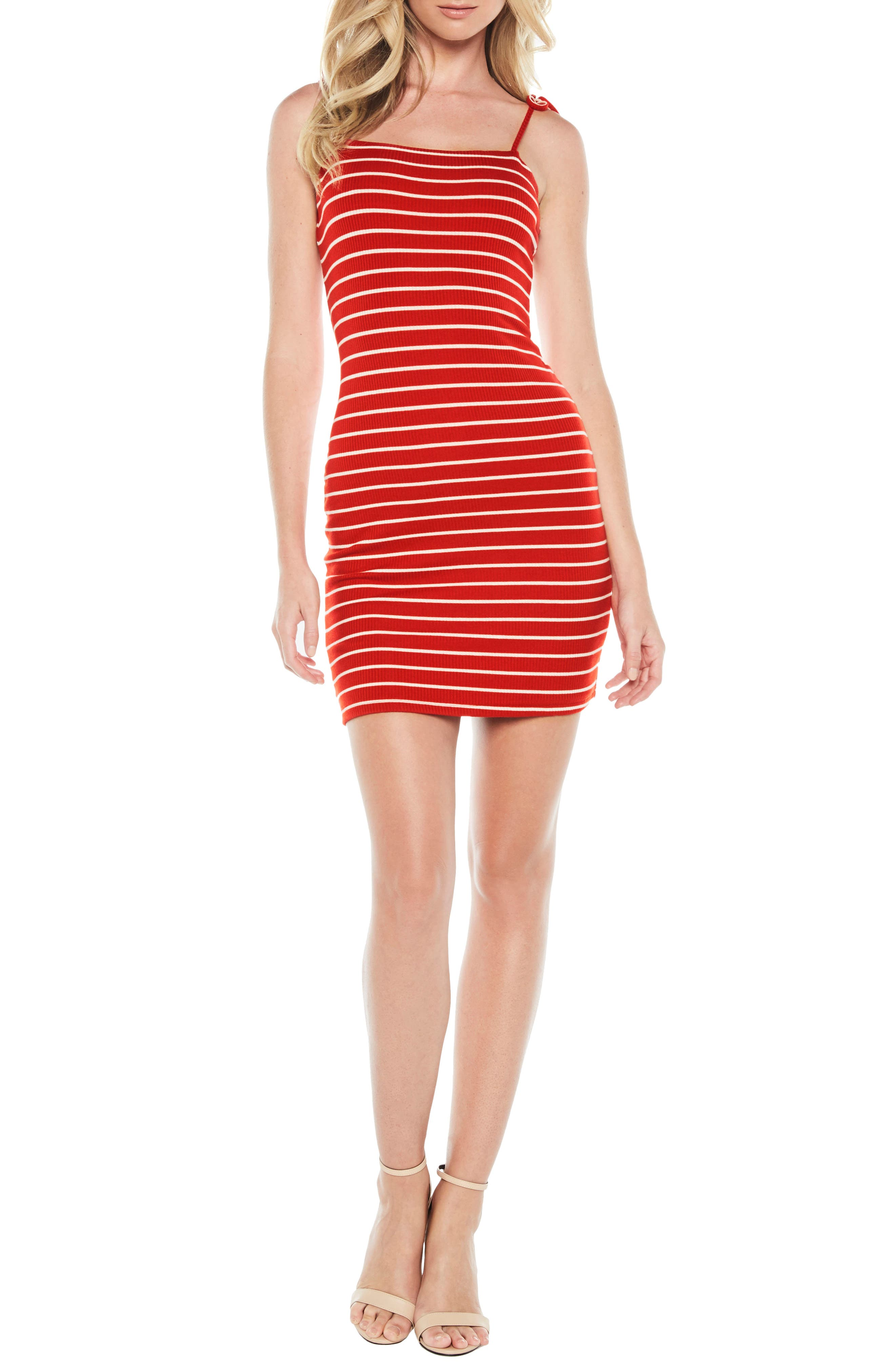 Romy Tie Strap Tube Dress,                             Main thumbnail 1, color,                             Red/ White Stripe