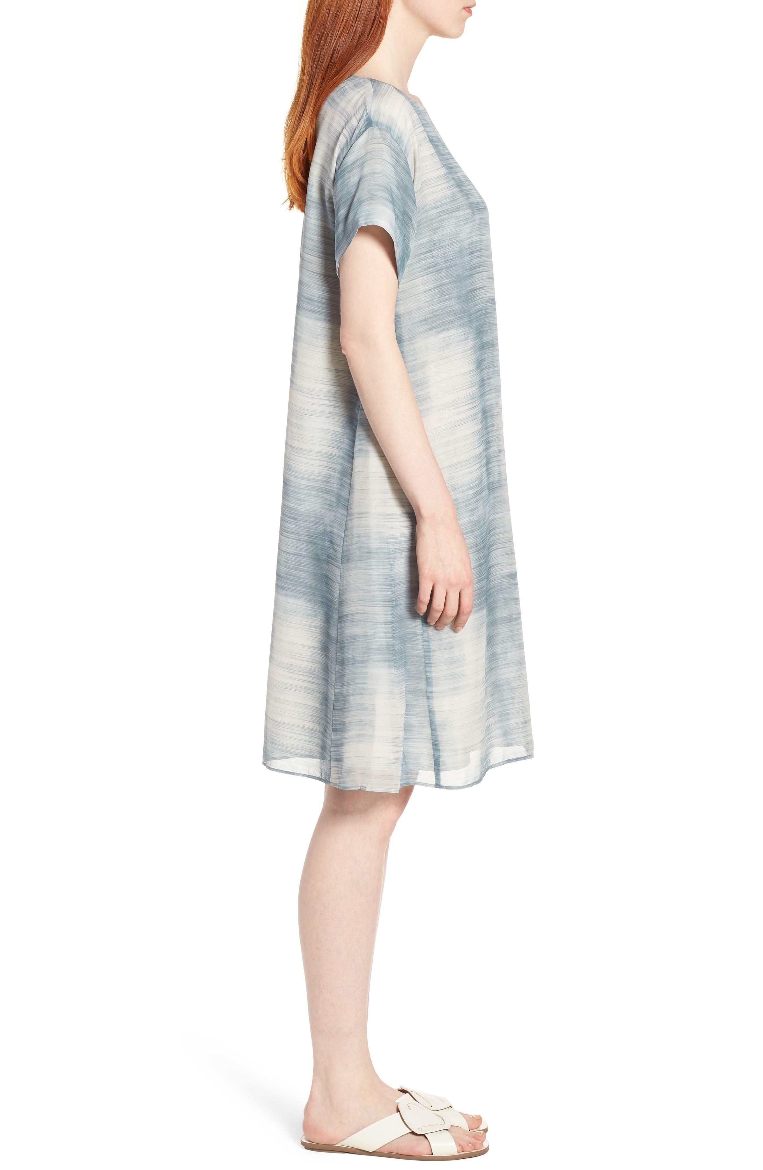 Bateau Neck Silk Shift Dress,                             Alternate thumbnail 3, color,                             Blue Steel