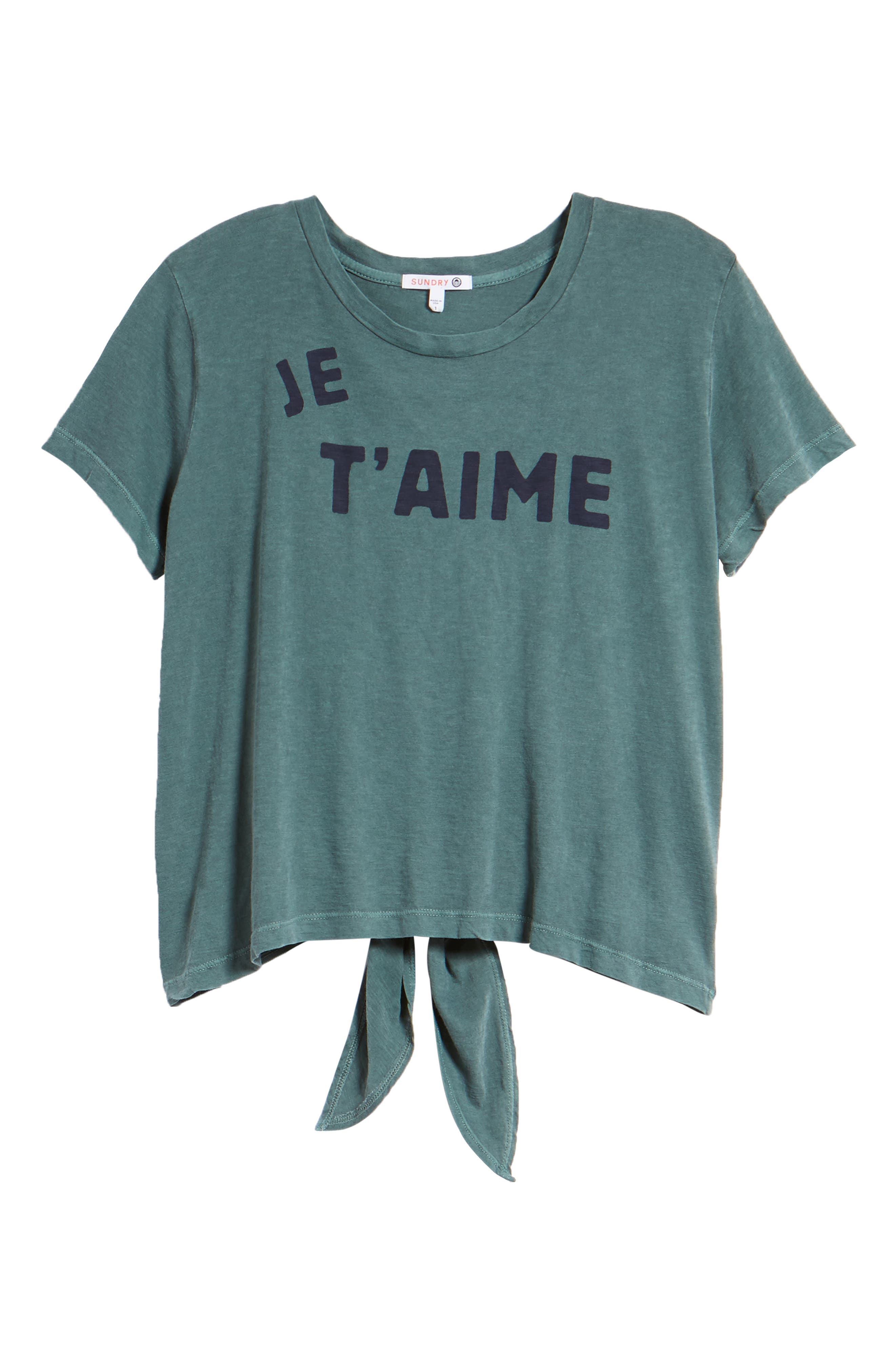 Je T'aime Tie Back Tee,                             Alternate thumbnail 7, color,                             Pigment Forest