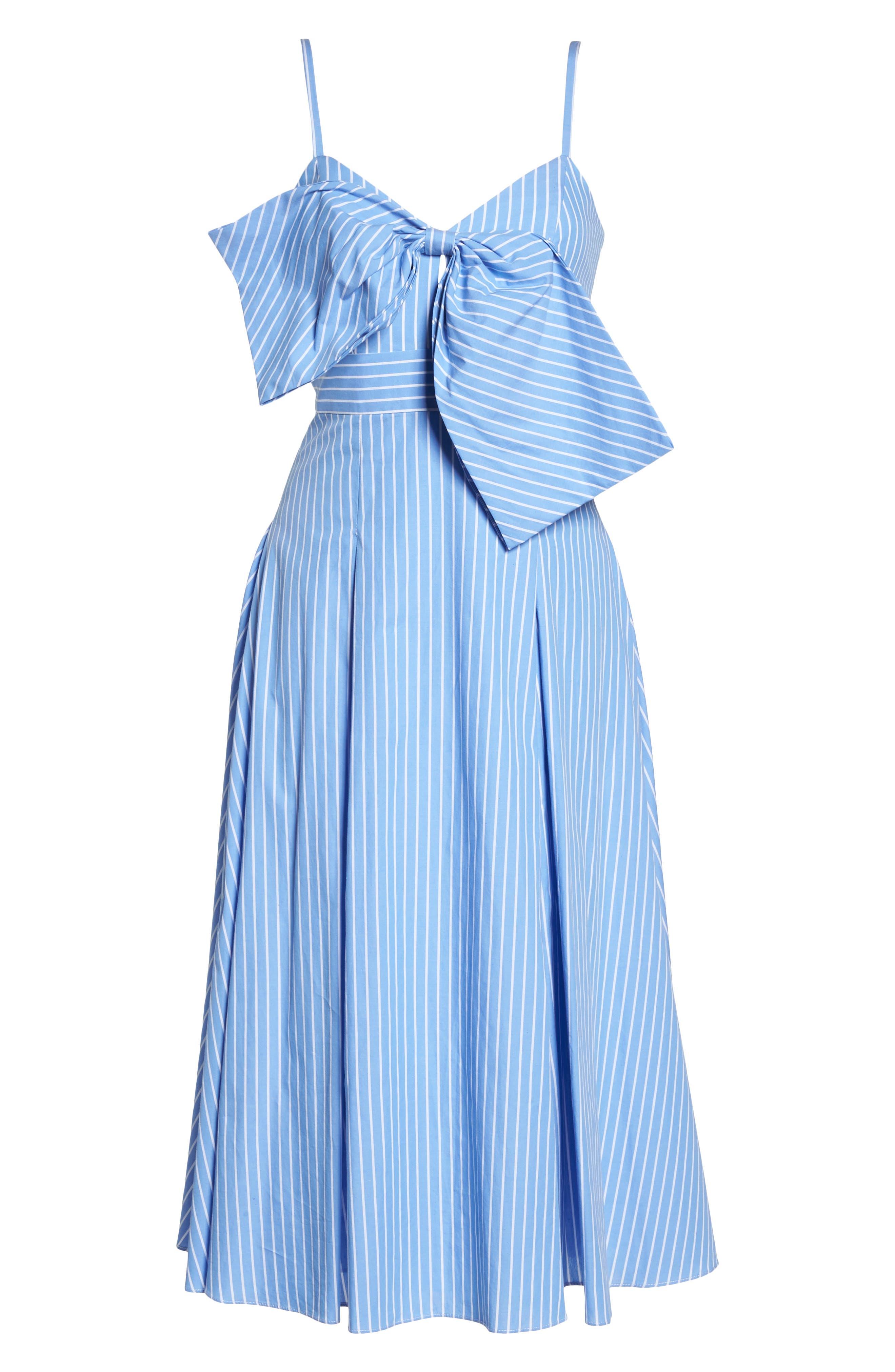 Becky Bow Front Tea Length Dress,                             Alternate thumbnail 7, color,                             Pale Blue/ White Stripe