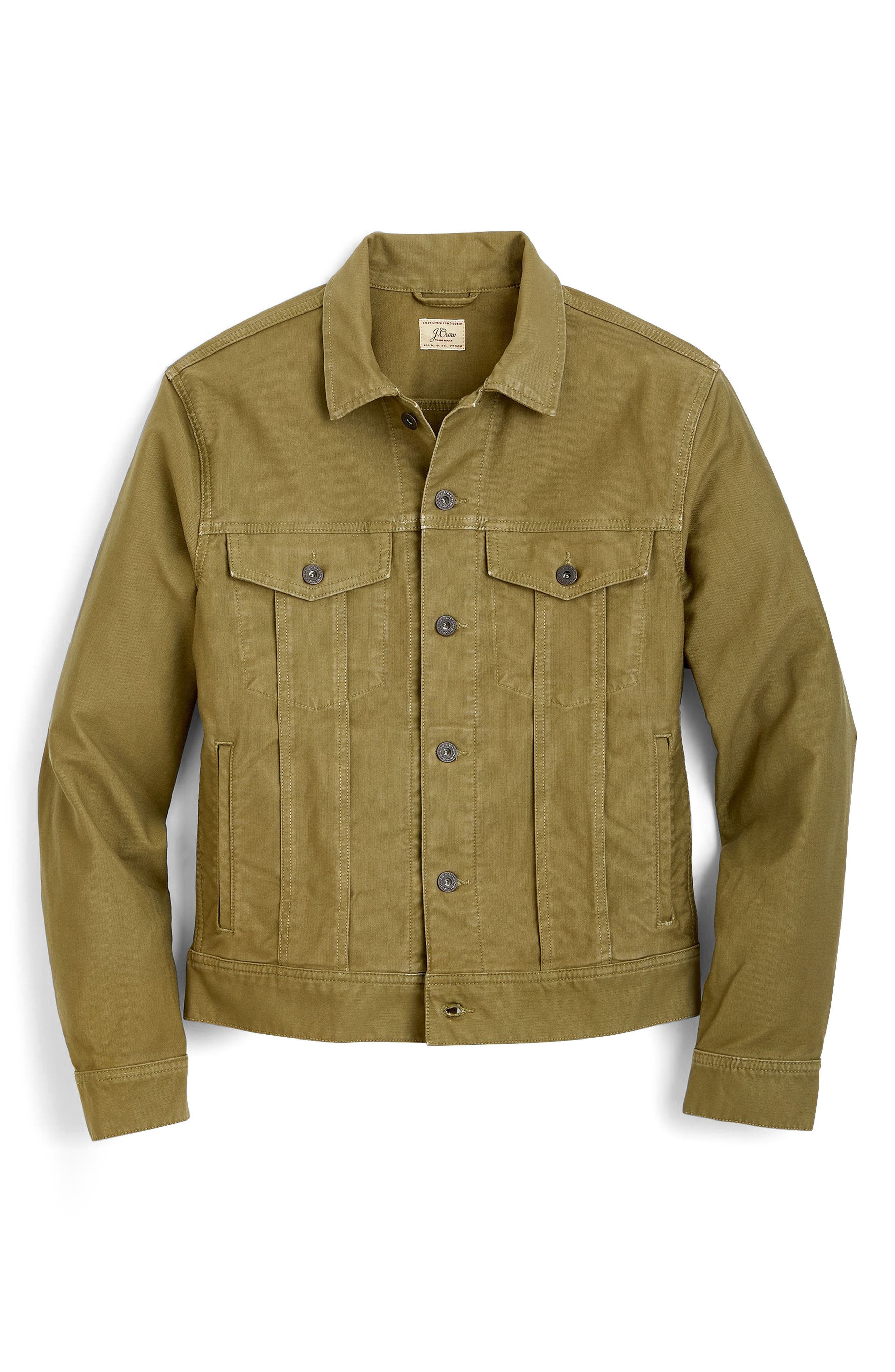 Garment Dyed Bedford Cord Trucker Jacket,                             Alternate thumbnail 4, color,                             Sun Faded Olive
