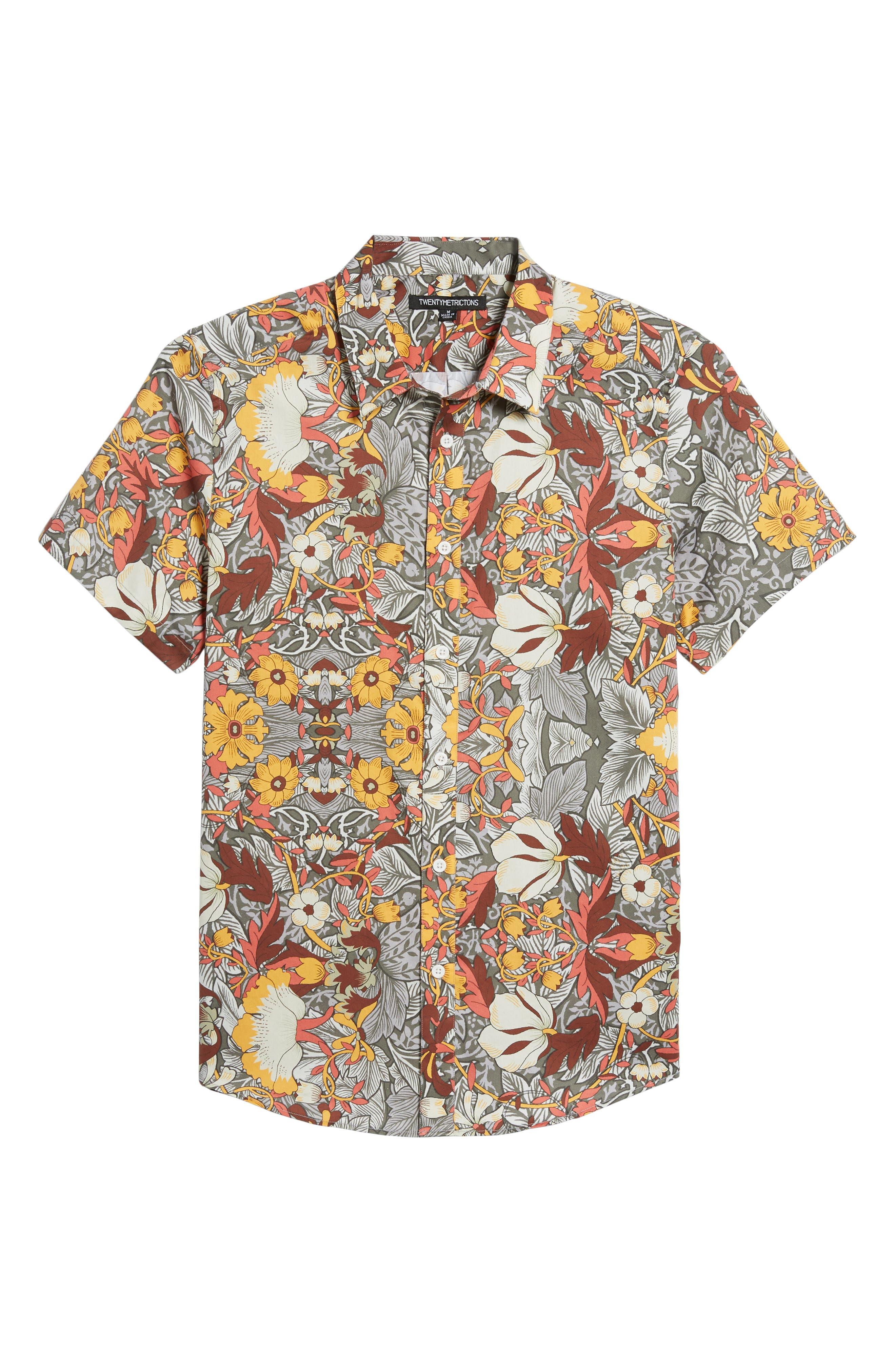 Trim Fit Woven Short Sleeve Shirt,                             Alternate thumbnail 6, color,                             Grey