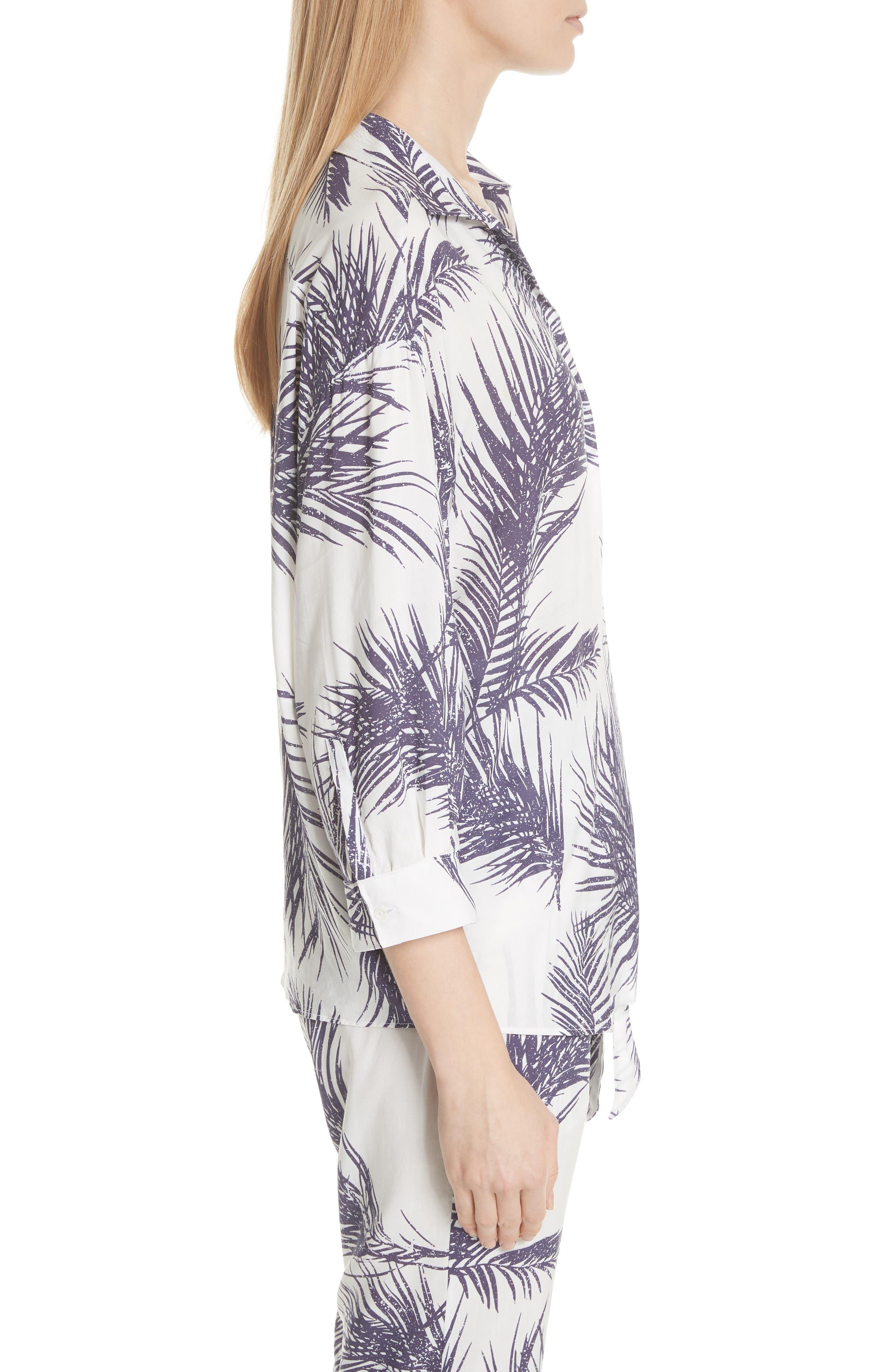 Palm Print Island Shirt,                             Alternate thumbnail 4, color,                             White/ Dark Purple