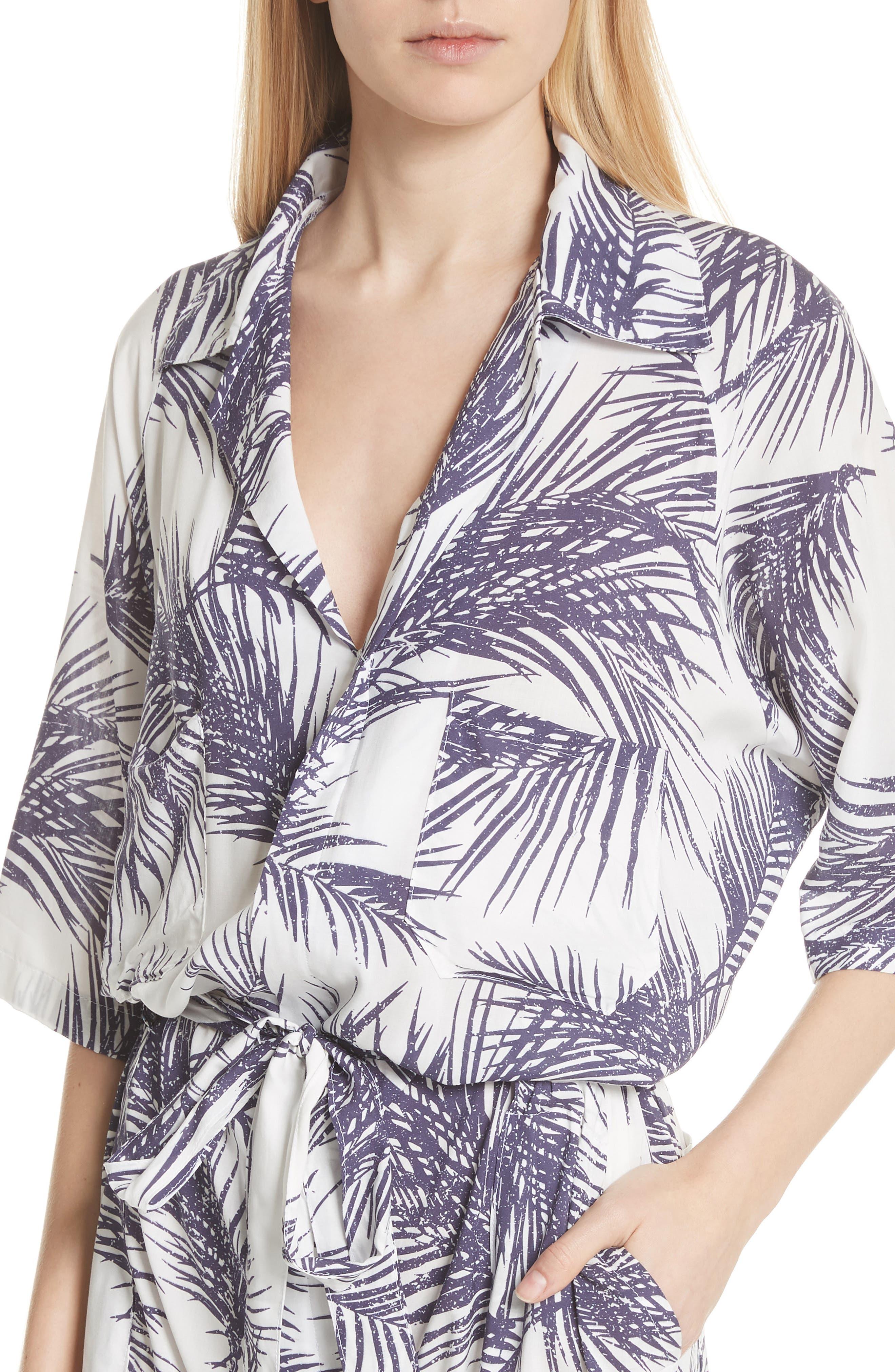 Apres Beach Print Jumpsuit,                             Alternate thumbnail 4, color,                             White/ Dark Purple