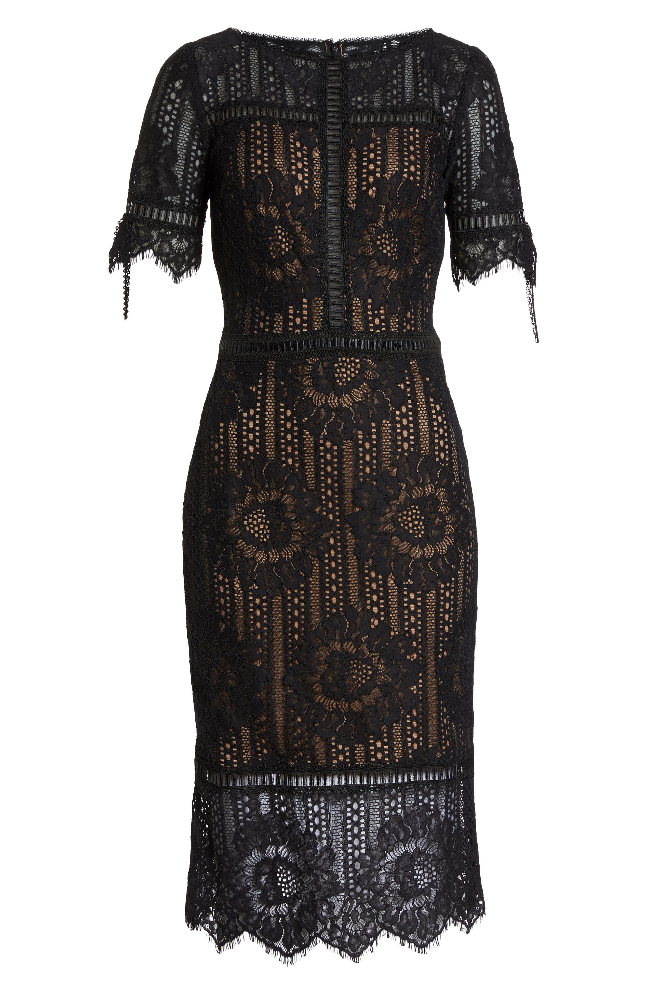 Tie Sleeve Lace Dress,                             Alternate thumbnail 6, color,                             Black/ Nude