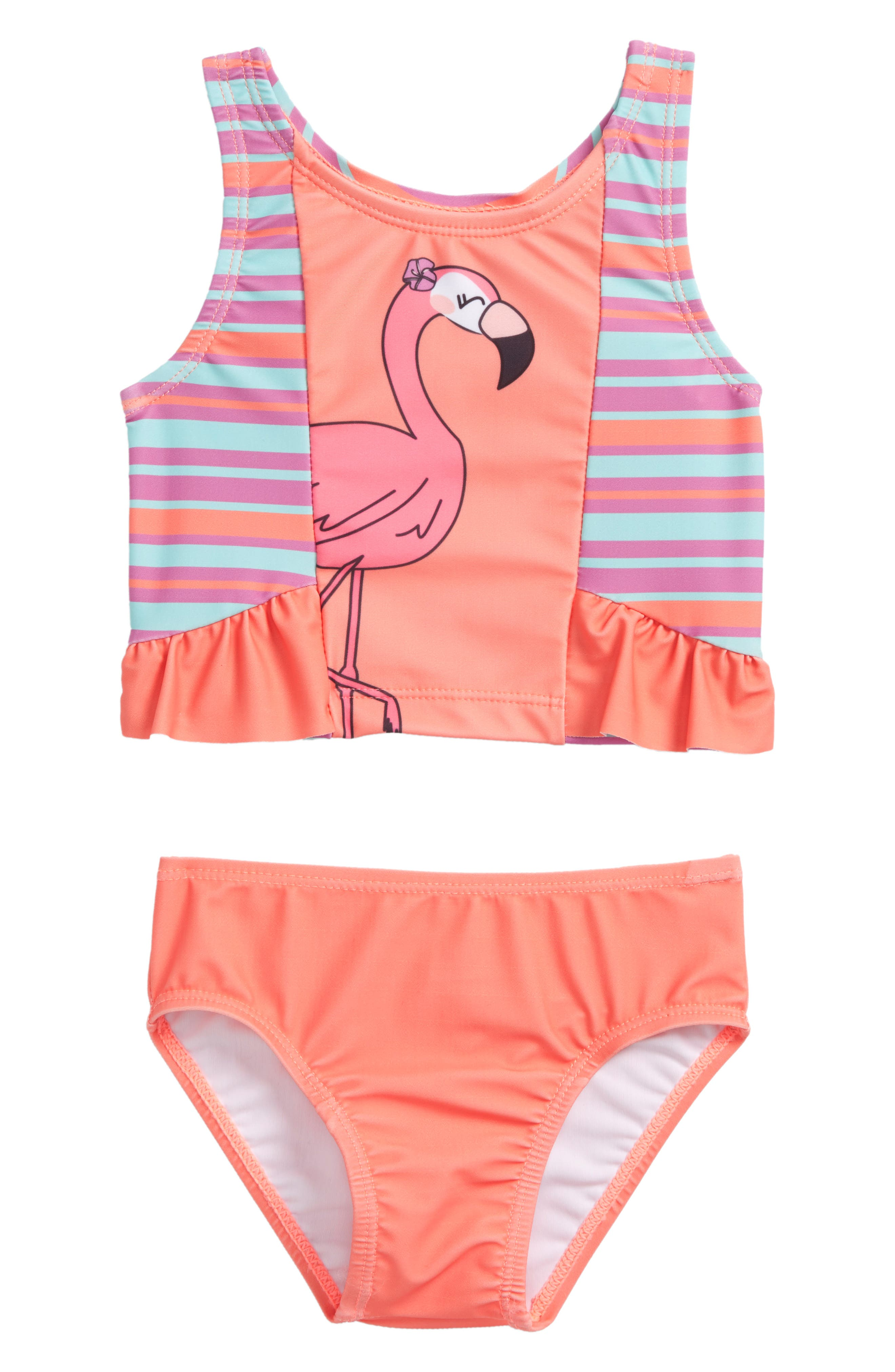 Flamingo Two-Piece Swimsuit,                             Main thumbnail 1, color,                             Coral
