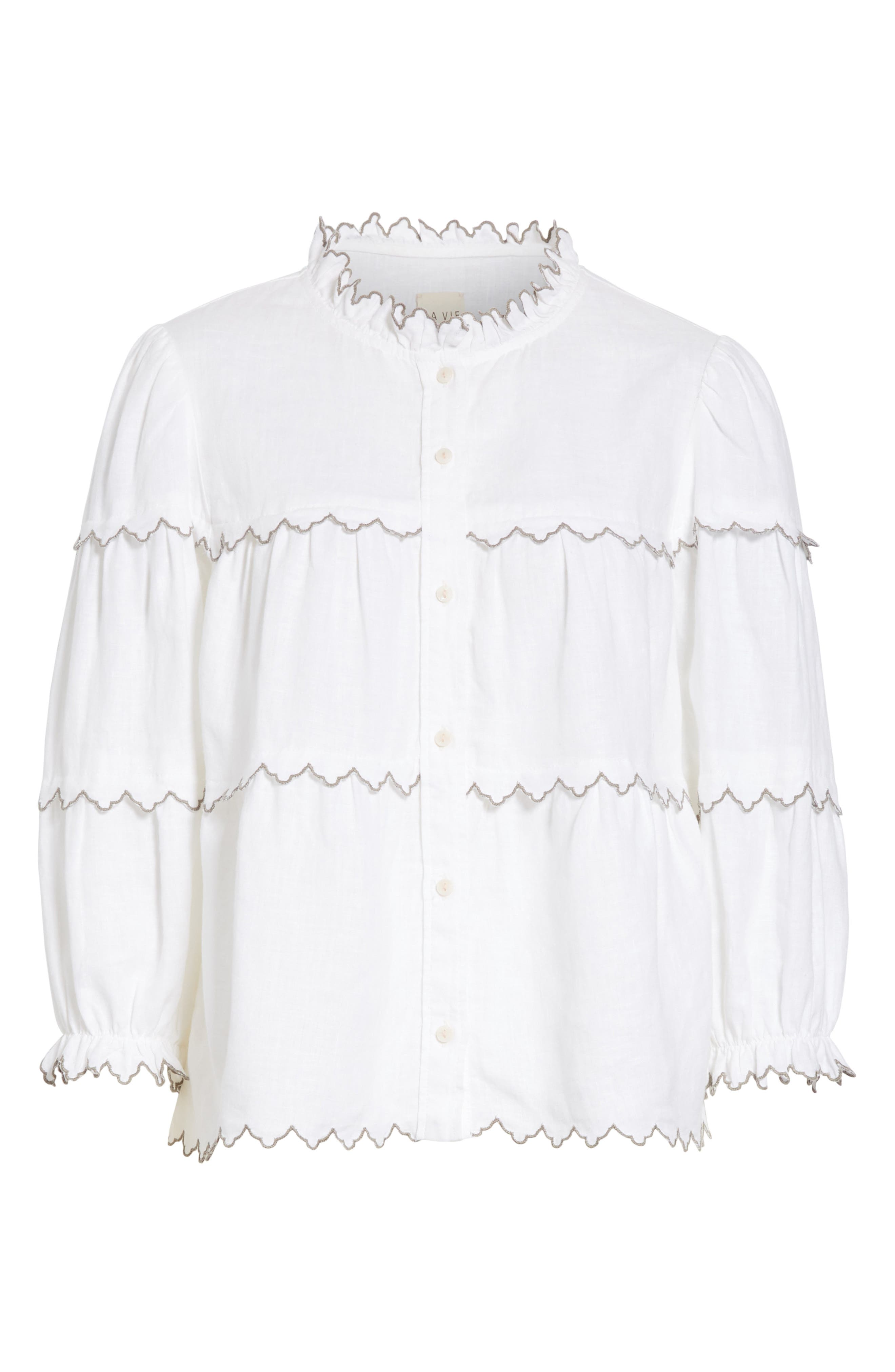 Embroidered Linen Top,                             Alternate thumbnail 6, color,                             Milk