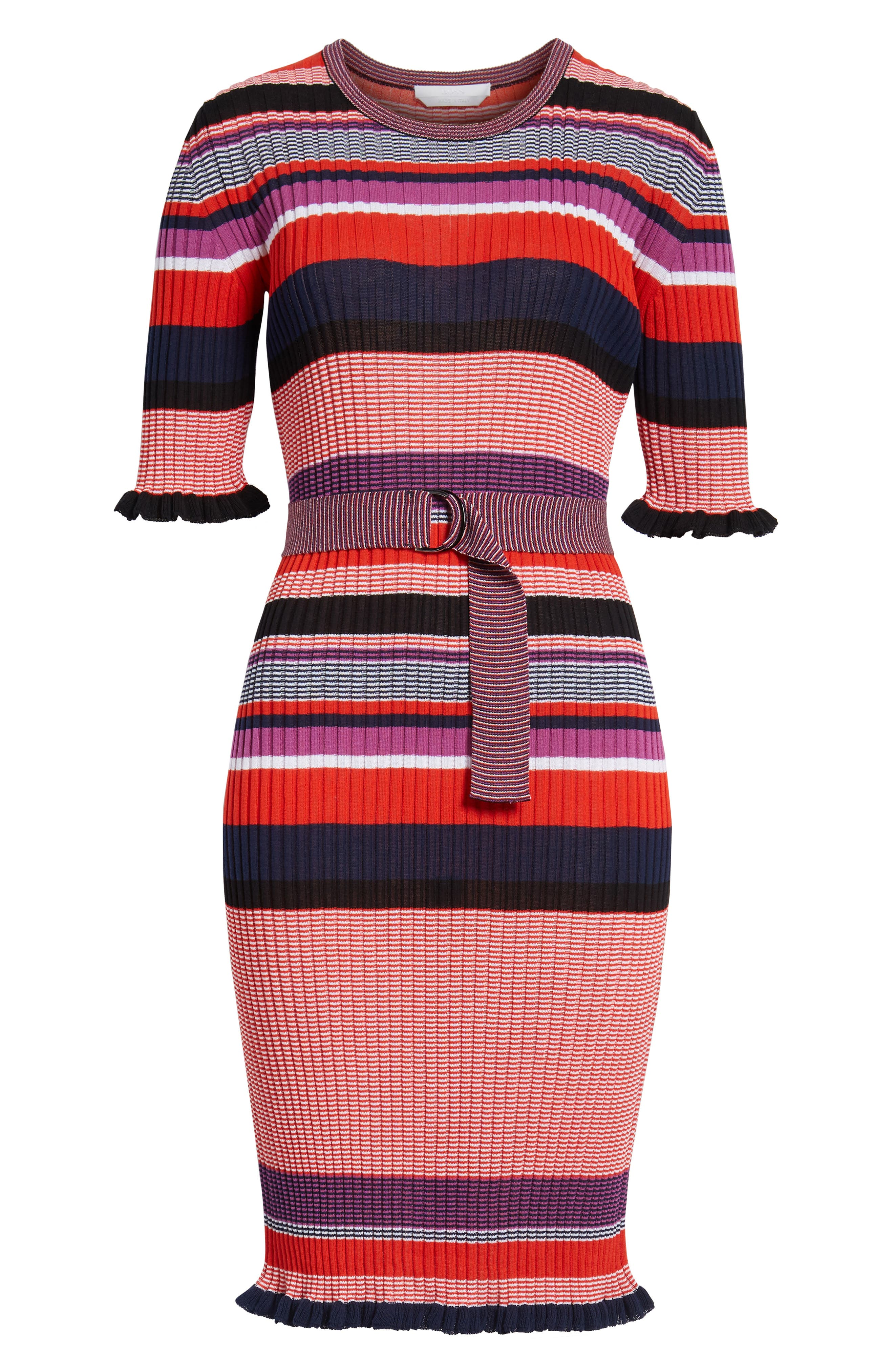 Fantonia Stripe Knit Sheath Dress,                             Alternate thumbnail 7, color,                             Black Fantasy