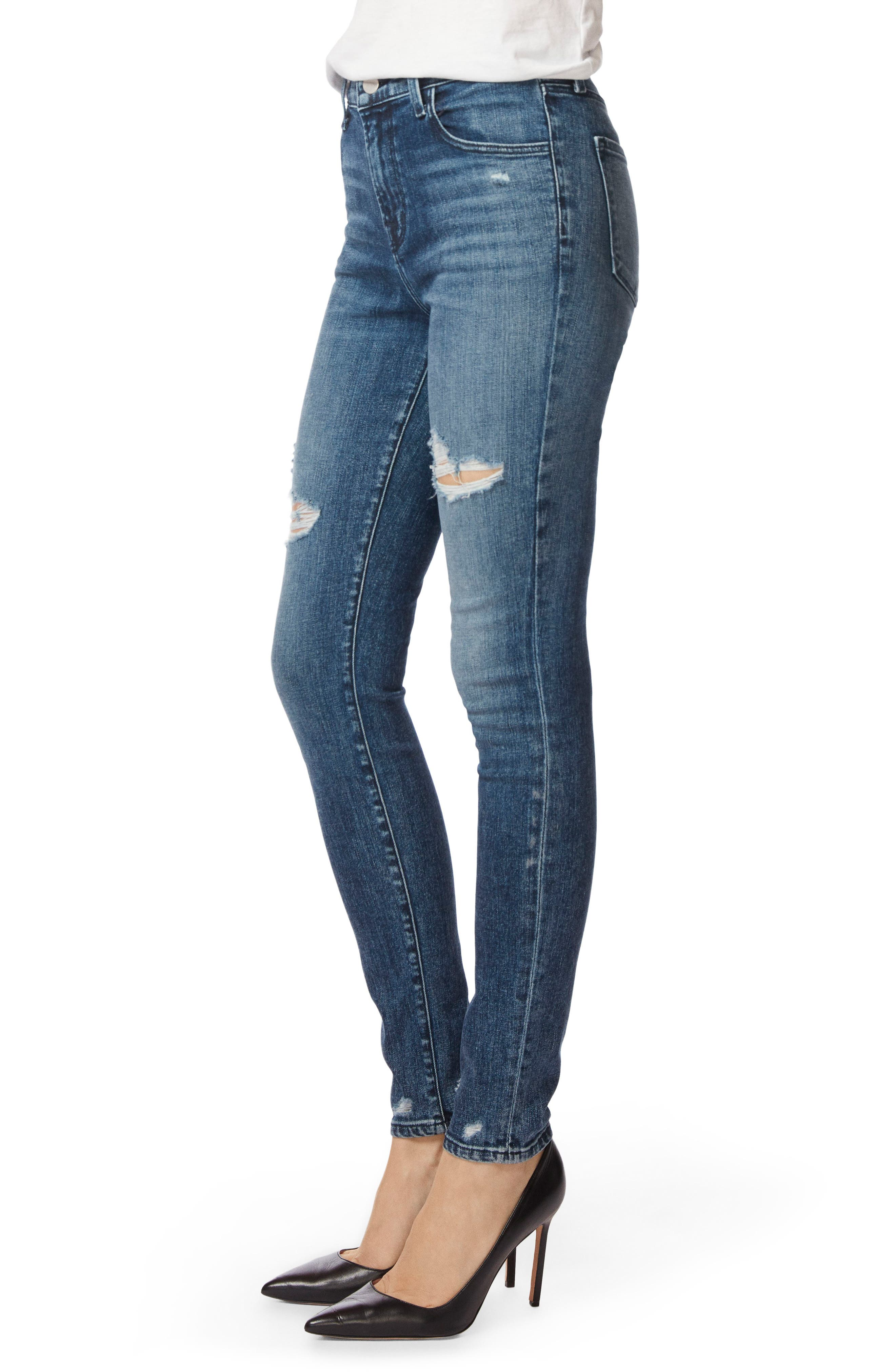 Maria High Waist Skinny Jeans,                             Alternate thumbnail 3, color,                             Moonstruck