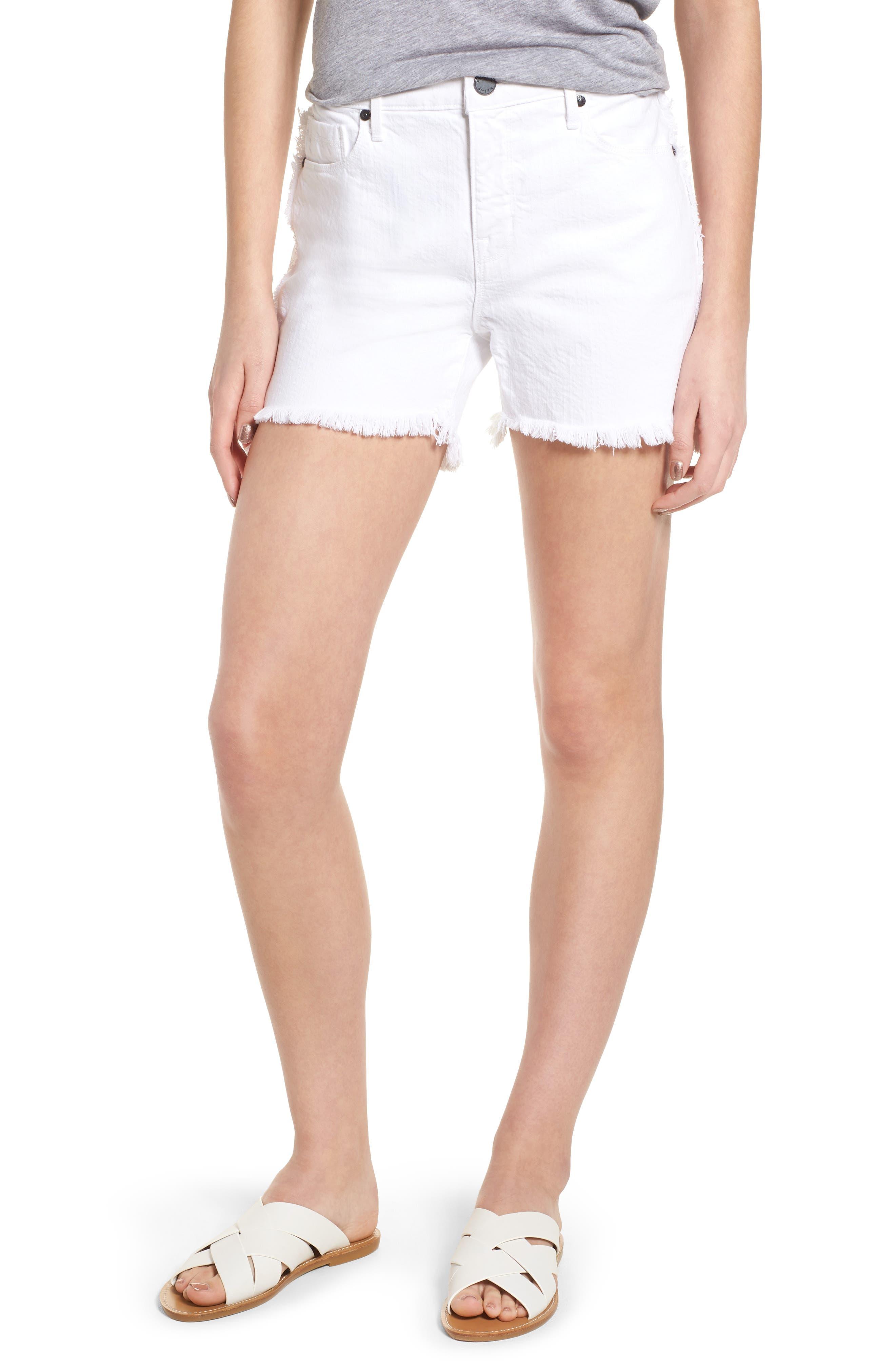 Step Hem Frayed Denim Shorts,                         Main,                         color, Blanc