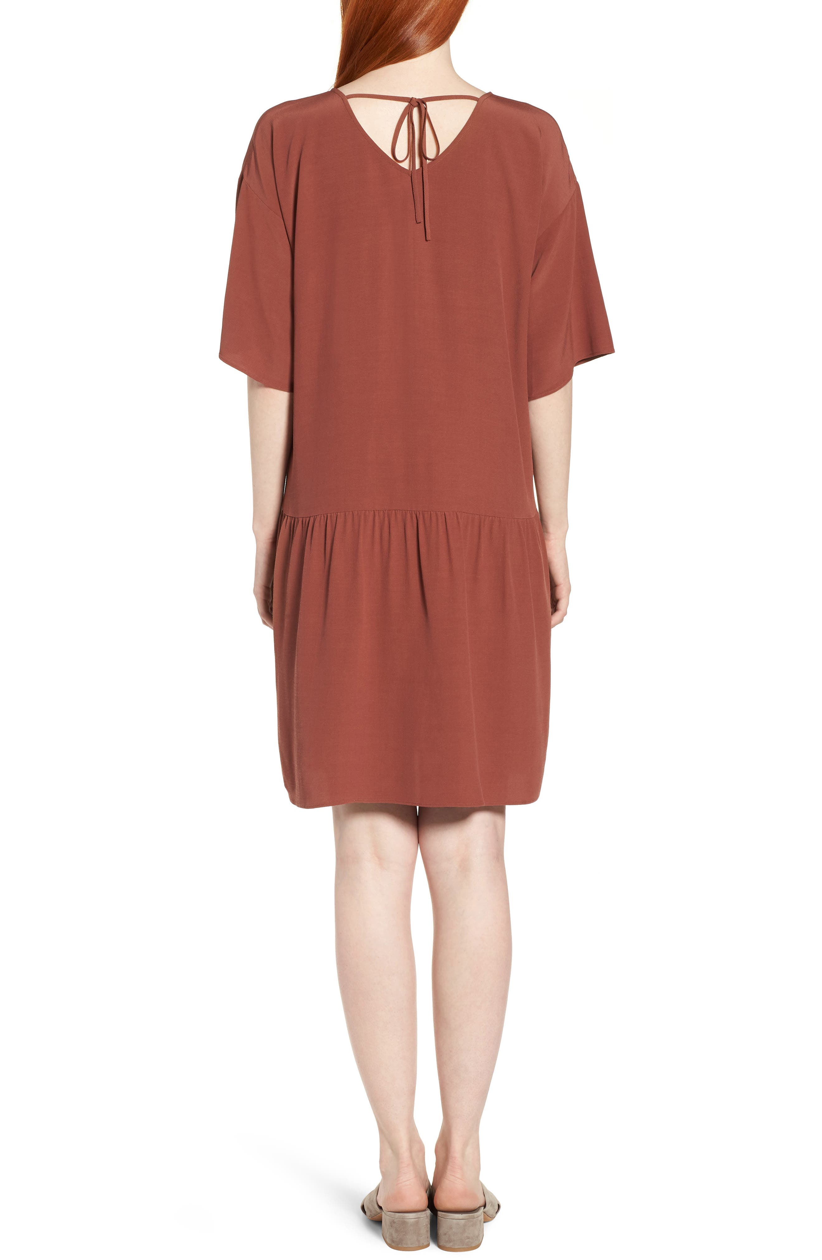 Drop Waist Tencel<sup>®</sup> Lyocell Blend Dress,                             Alternate thumbnail 2, color,                             Russet