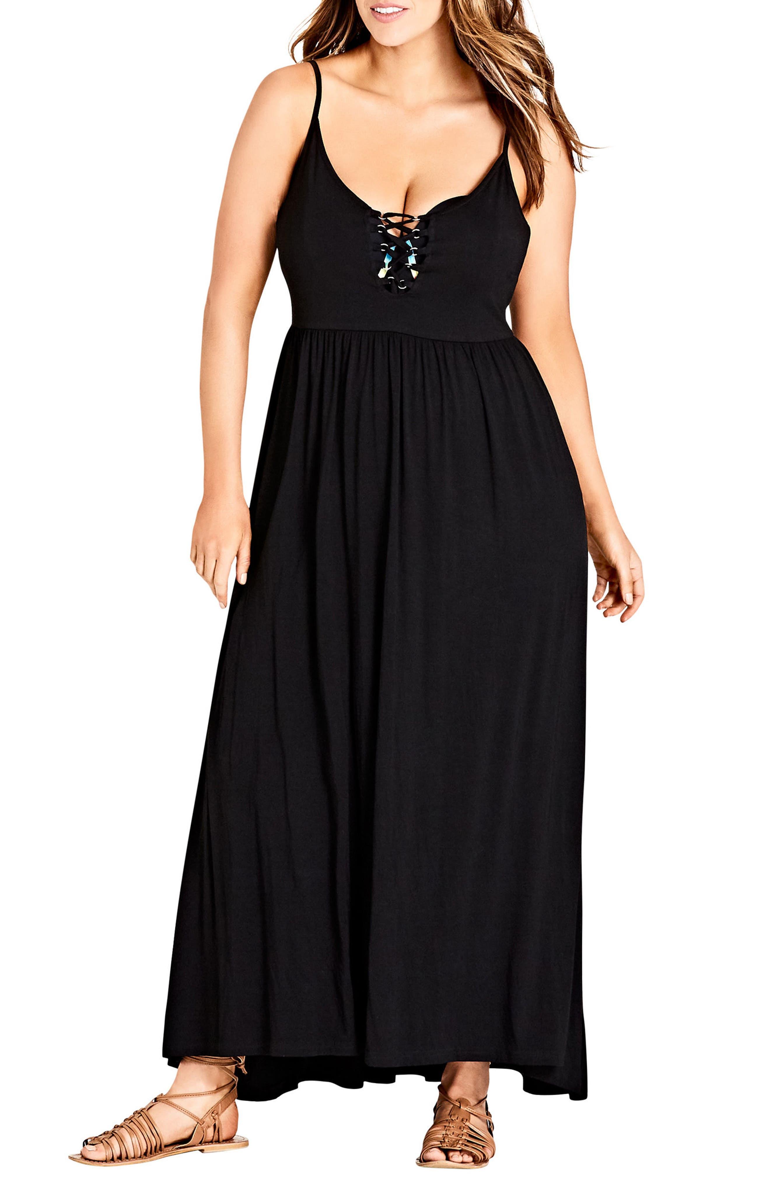 Lace Up Maxi Dress,                             Main thumbnail 1, color,                             Black