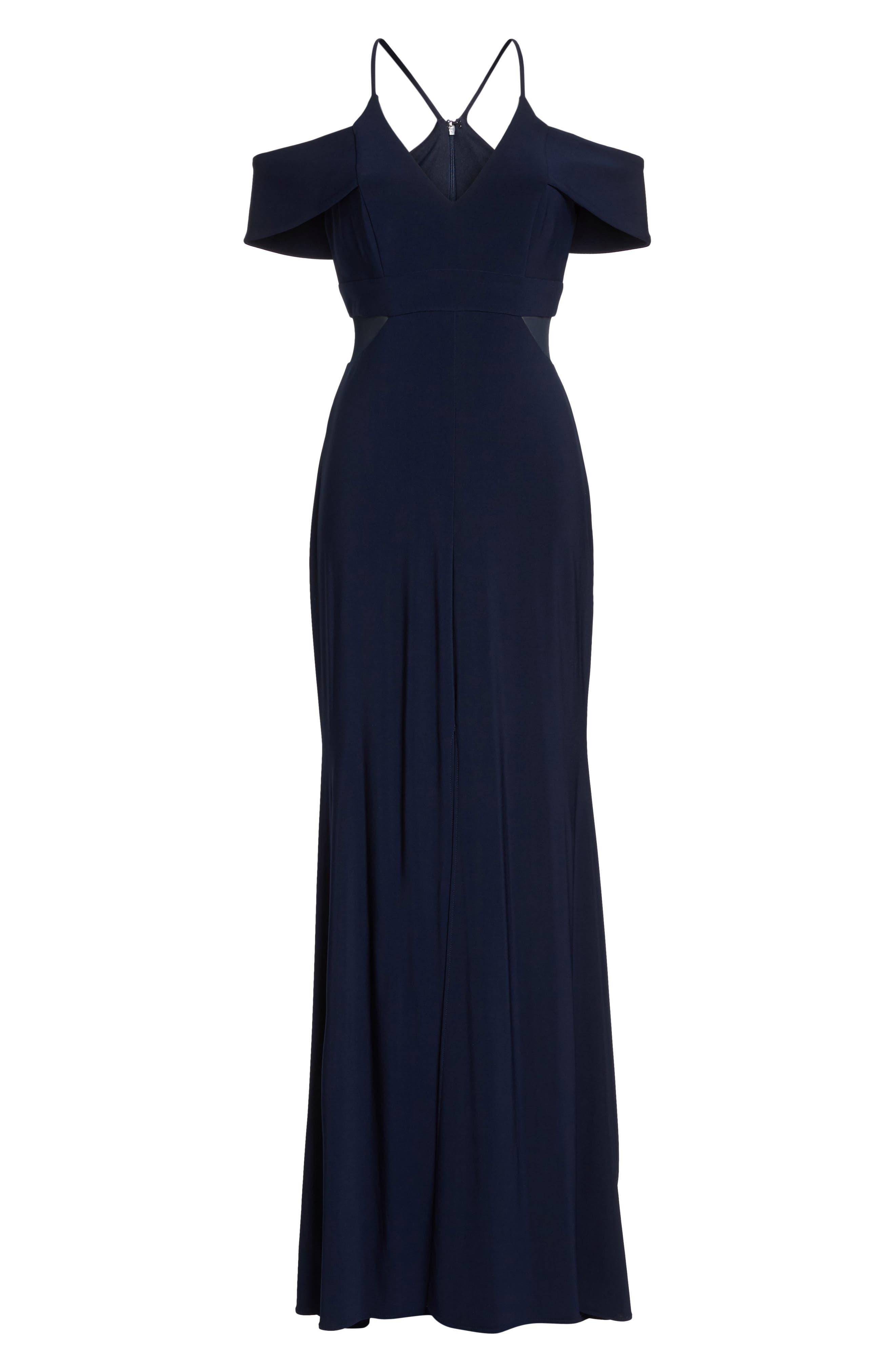 Cold Shoulder Gown,                             Alternate thumbnail 6, color,                             Navy