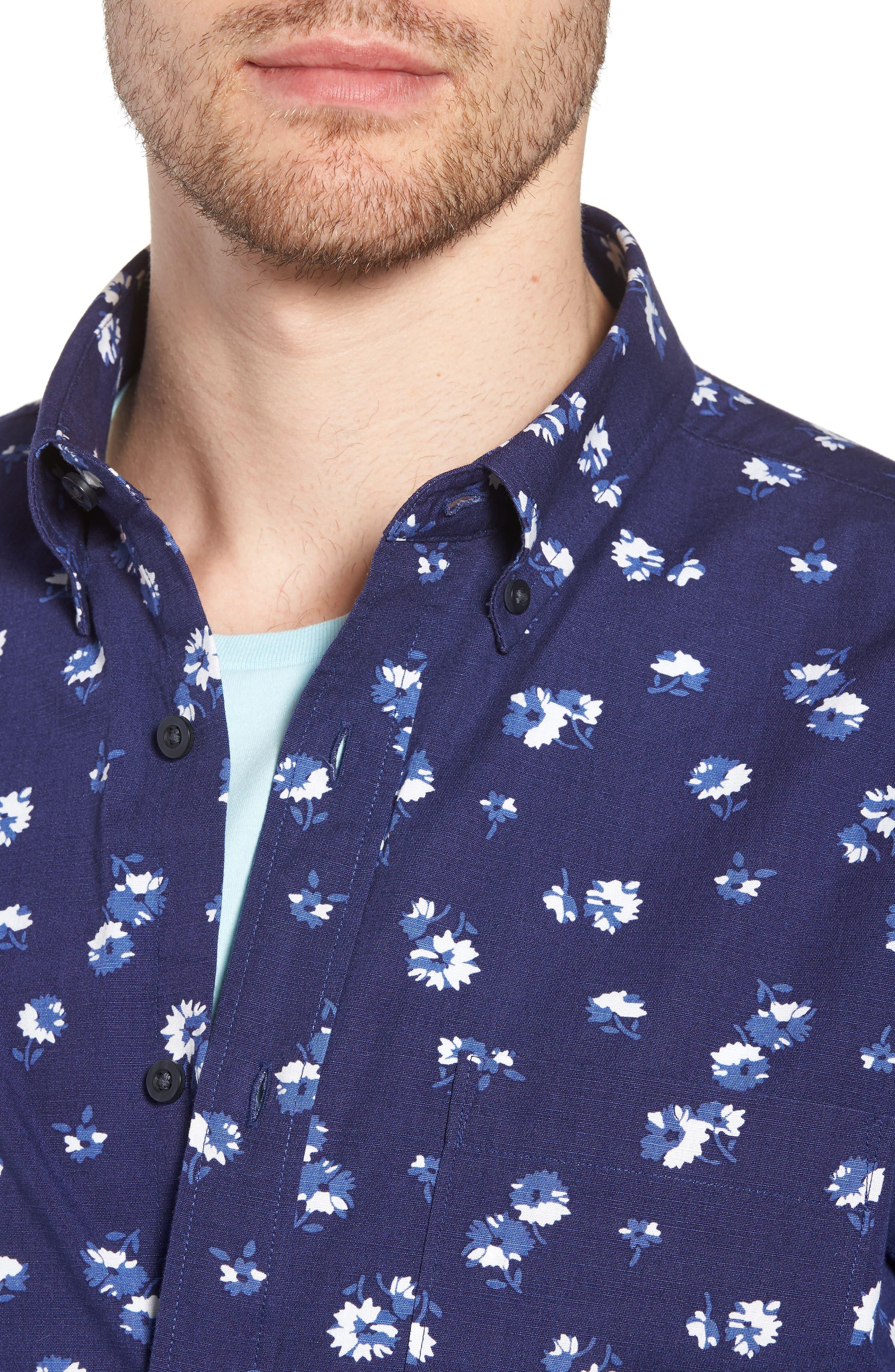 Trim Fit Floral Sport Shirt,                             Alternate thumbnail 6, color,                             Navy Iris Aster Flowers