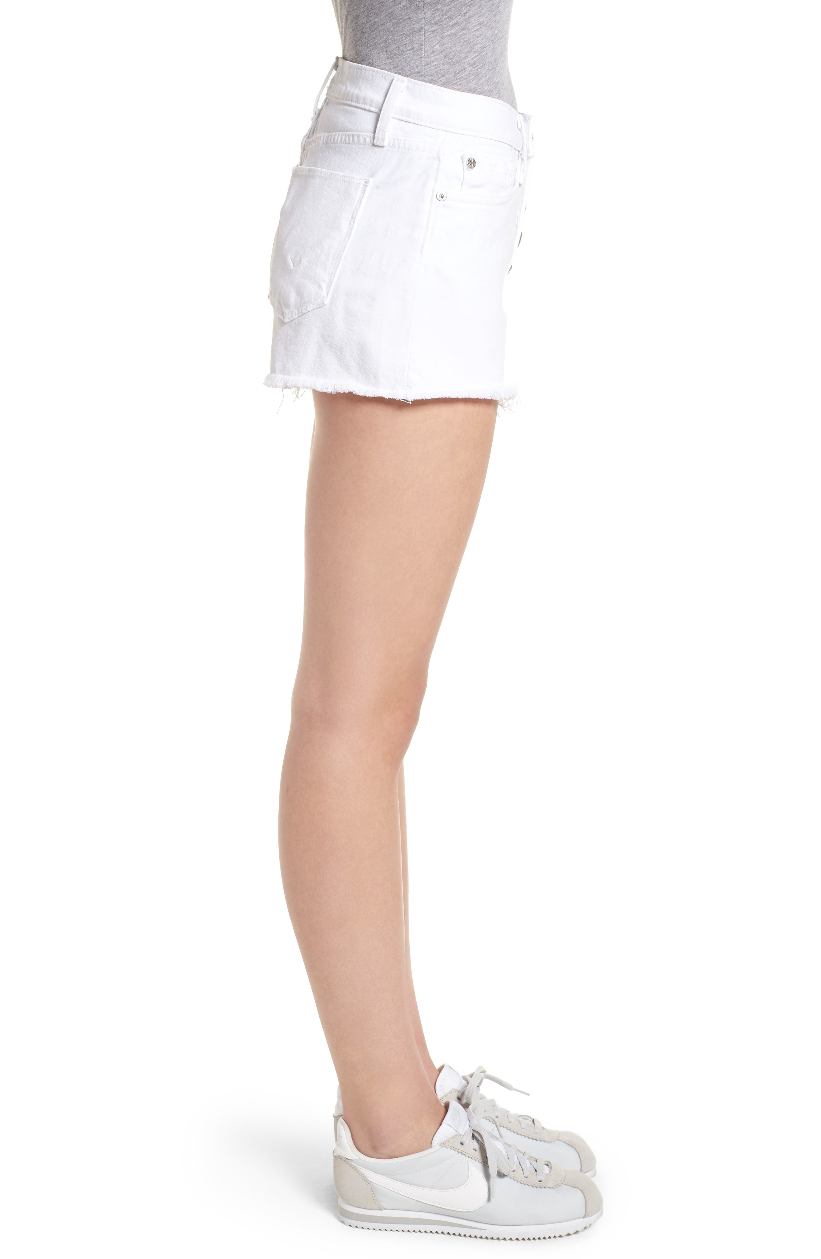 Zoeey Button Fly High Waist Denim Shorts,                             Alternate thumbnail 3, color,                             White