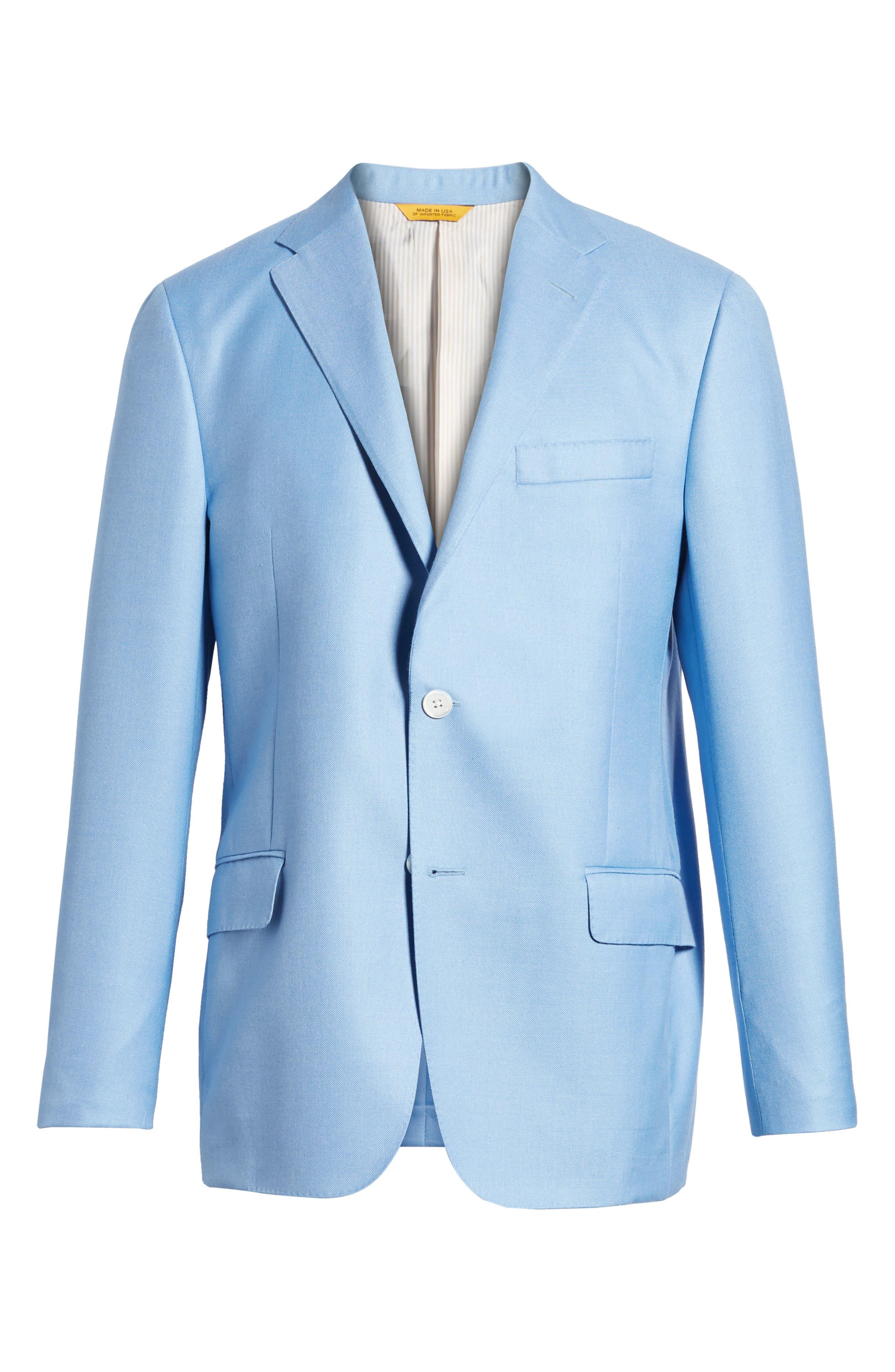 Classic B Fit Wool & Silk Blazer,                             Alternate thumbnail 6, color,                             Light Blue Solid