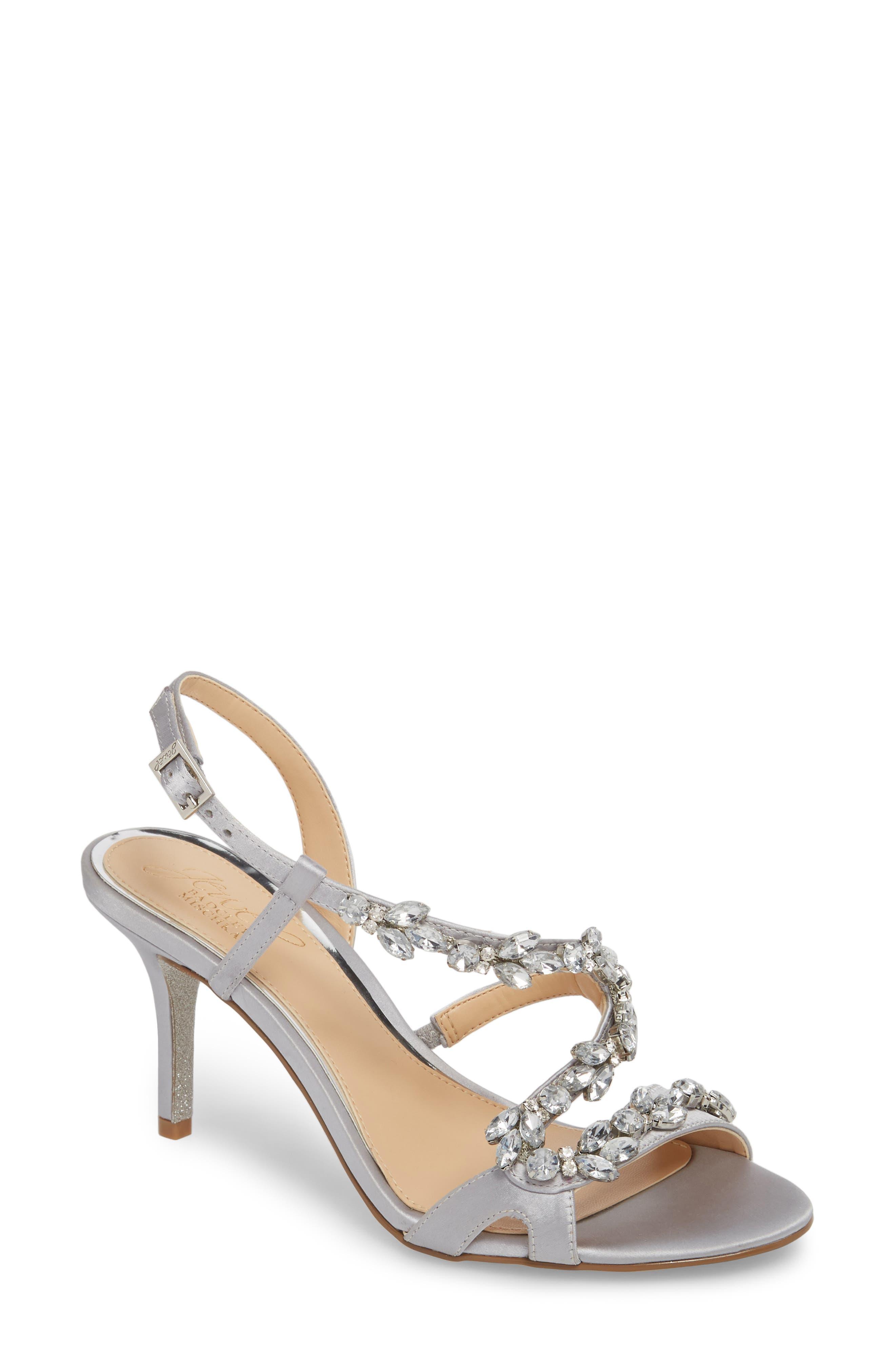 Badgley Mischka Ganet Embellished Sandal,                             Main thumbnail 1, color,                             Silver Satin