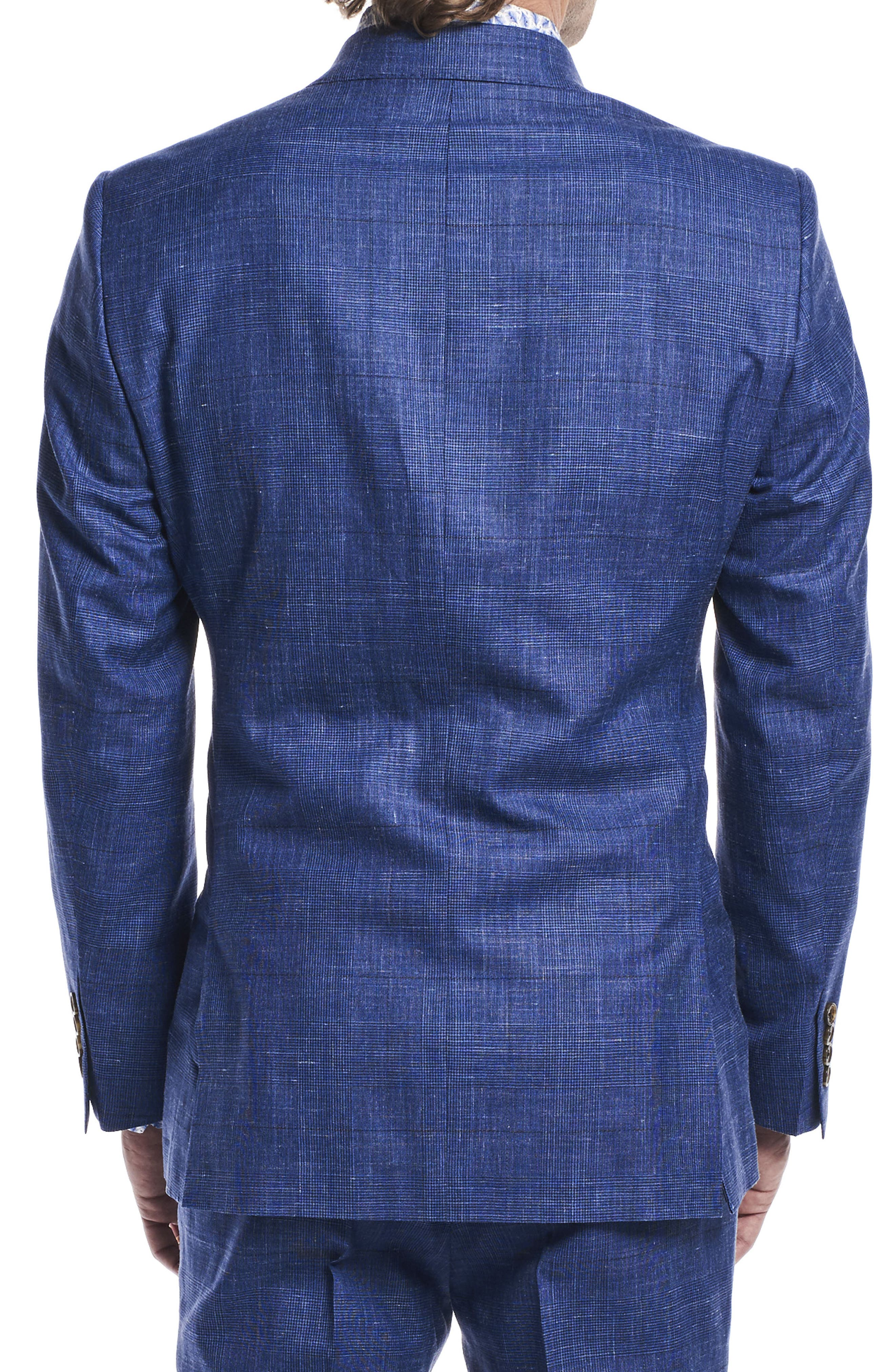 by Ilaria Urbinati Kilgore Slim Fit Plaid Wool Blend Suit,                             Alternate thumbnail 4, color,                             Blue