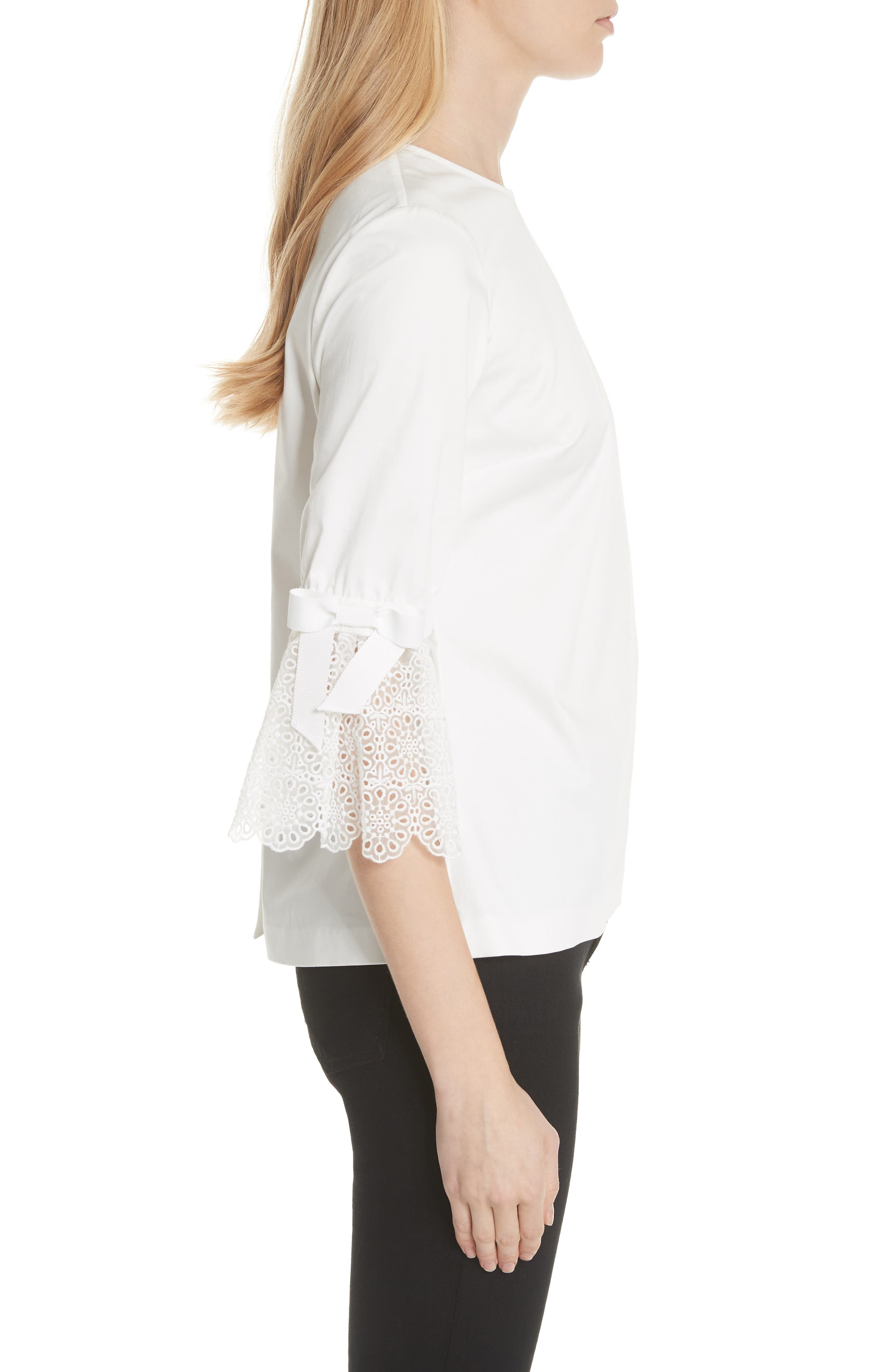 Broderie Lace Bow Sleeve Top,                             Alternate thumbnail 3, color,                             White