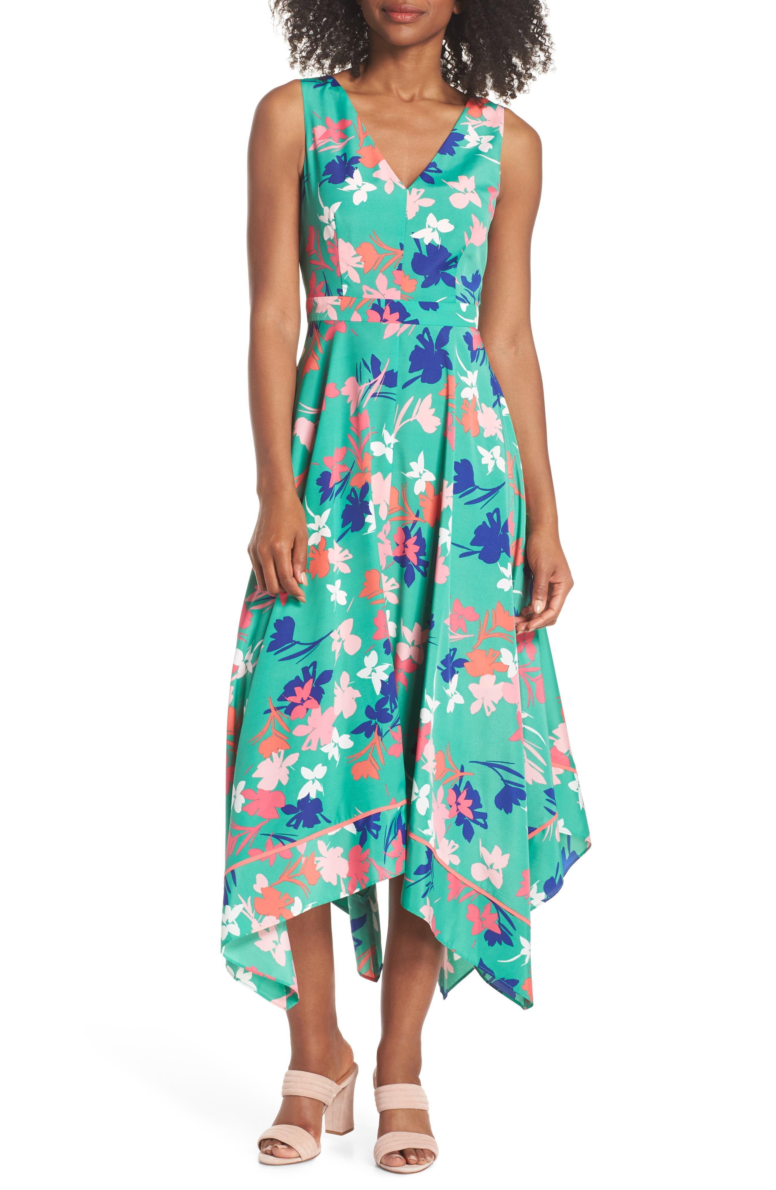 Floral Asymmetric Hem Midi Dress,                             Main thumbnail 1, color,                             Green