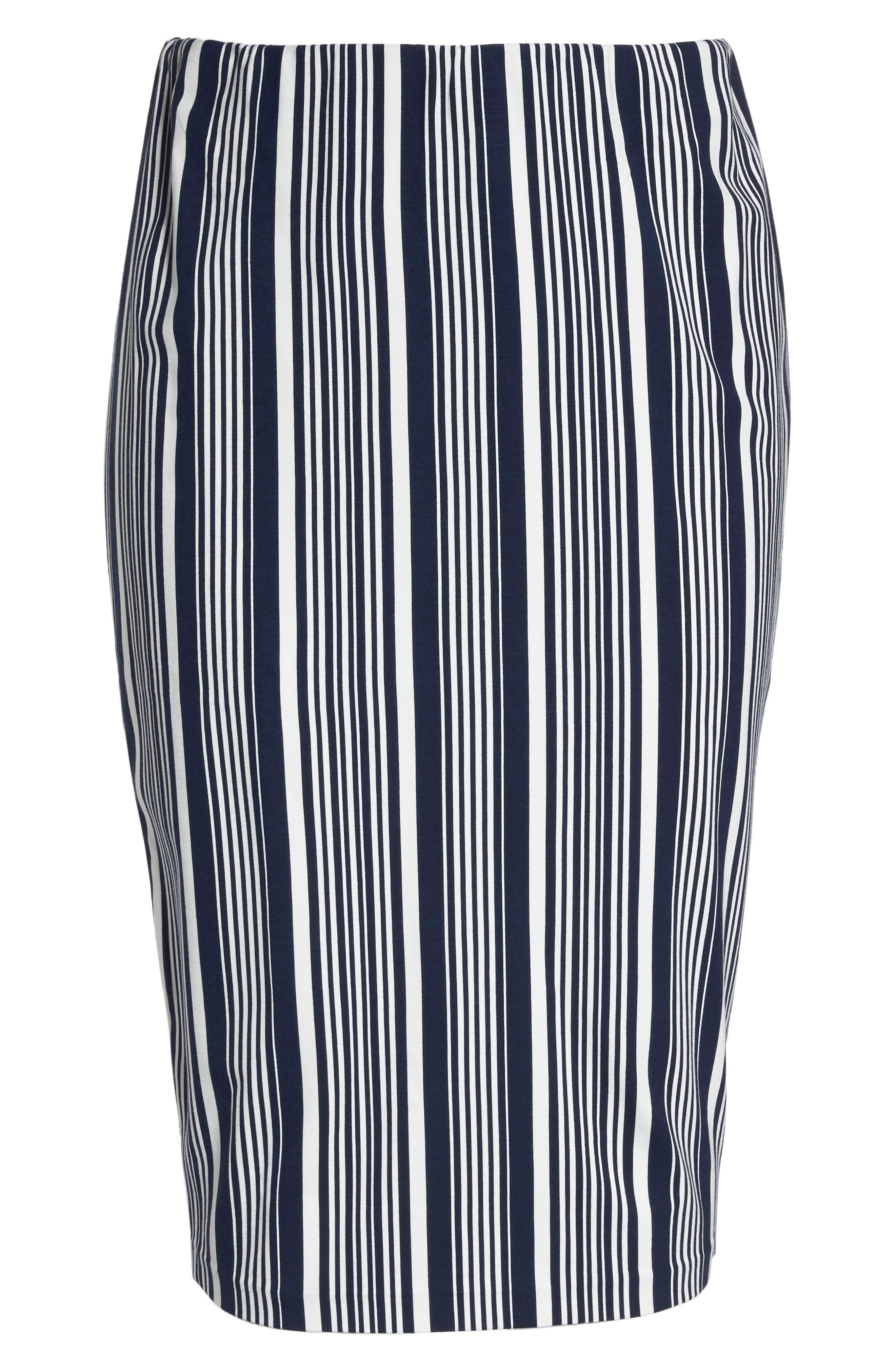 Stripe Ponte Pencil Skirt,                             Alternate thumbnail 6, color,                             Navy Alexis Stripe
