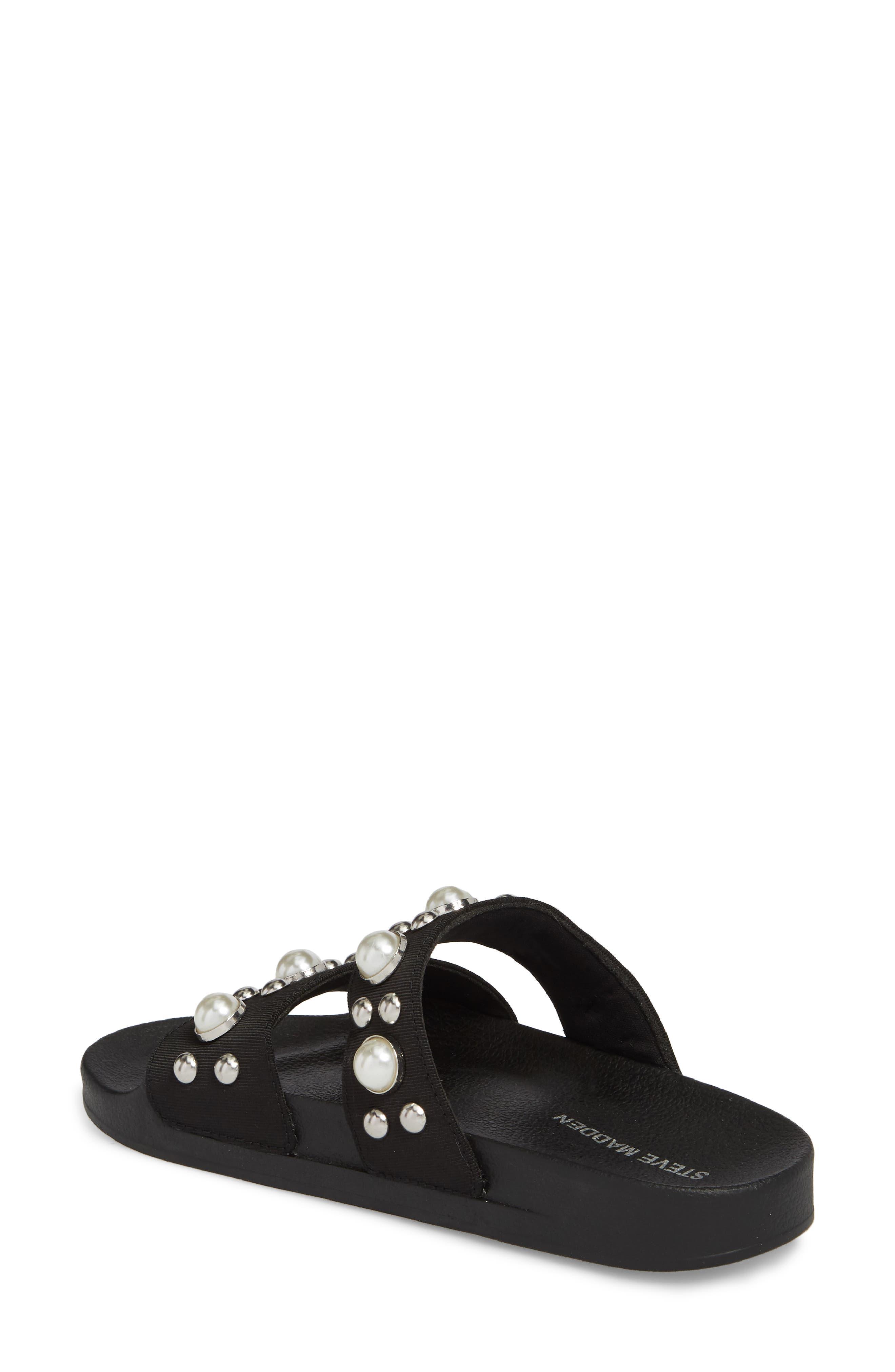 Polite Embellished Slide Sandal,                             Alternate thumbnail 2, color,                             Black