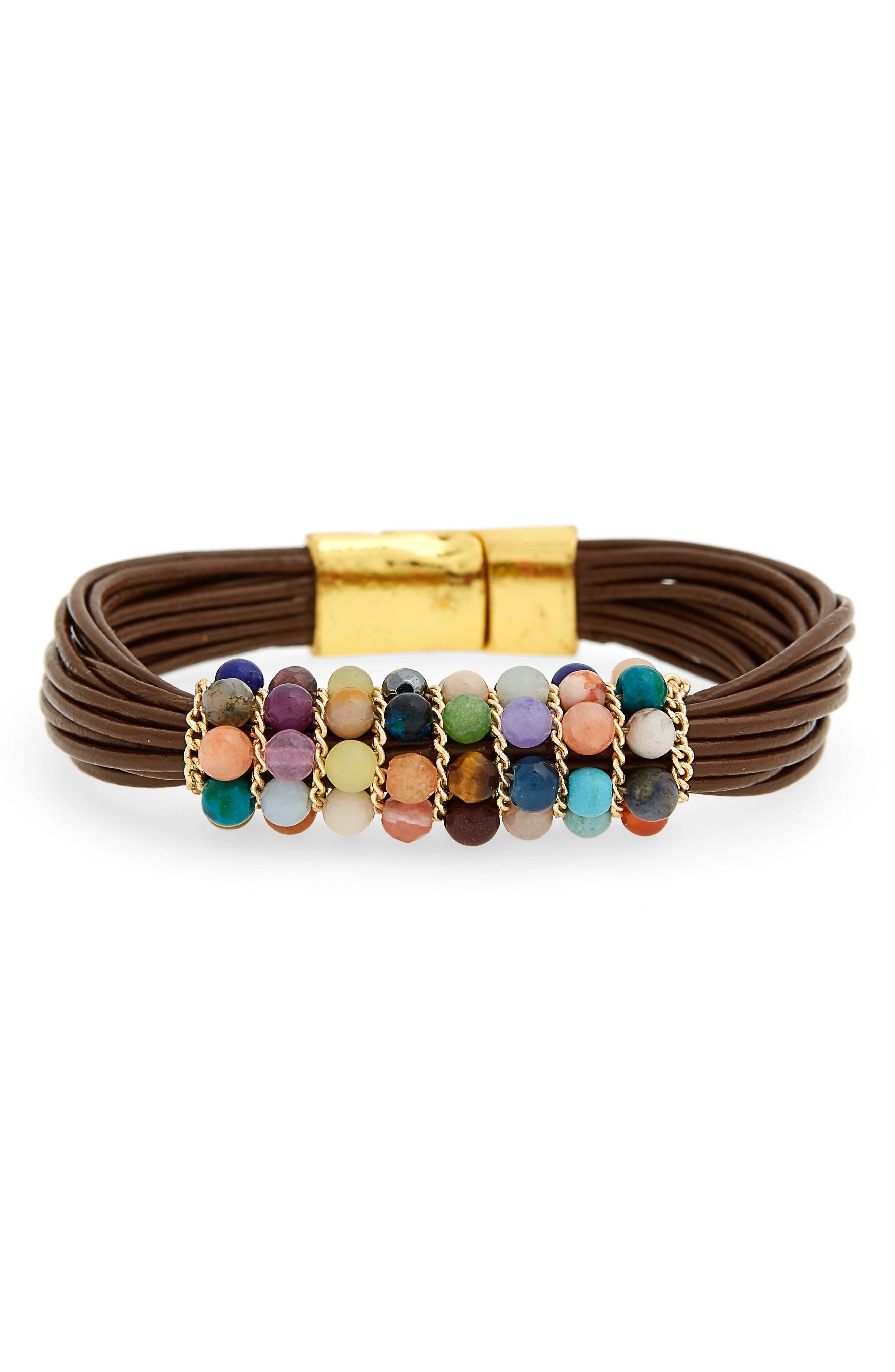 Stone & Leather Bracelet,                         Main,                         color, Multi