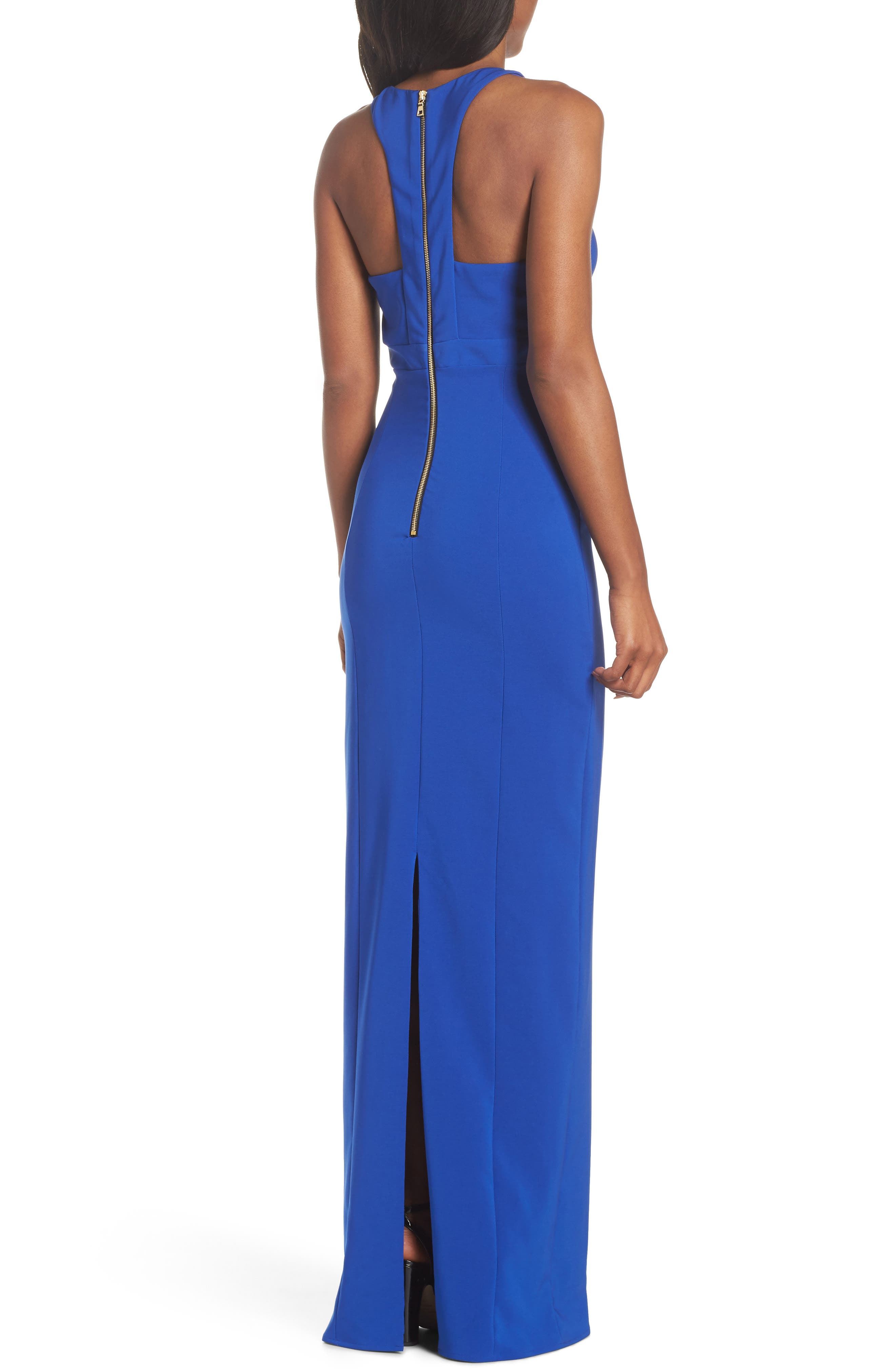 Ava Racer Column Gown,                             Alternate thumbnail 2, color,                             Cobalt