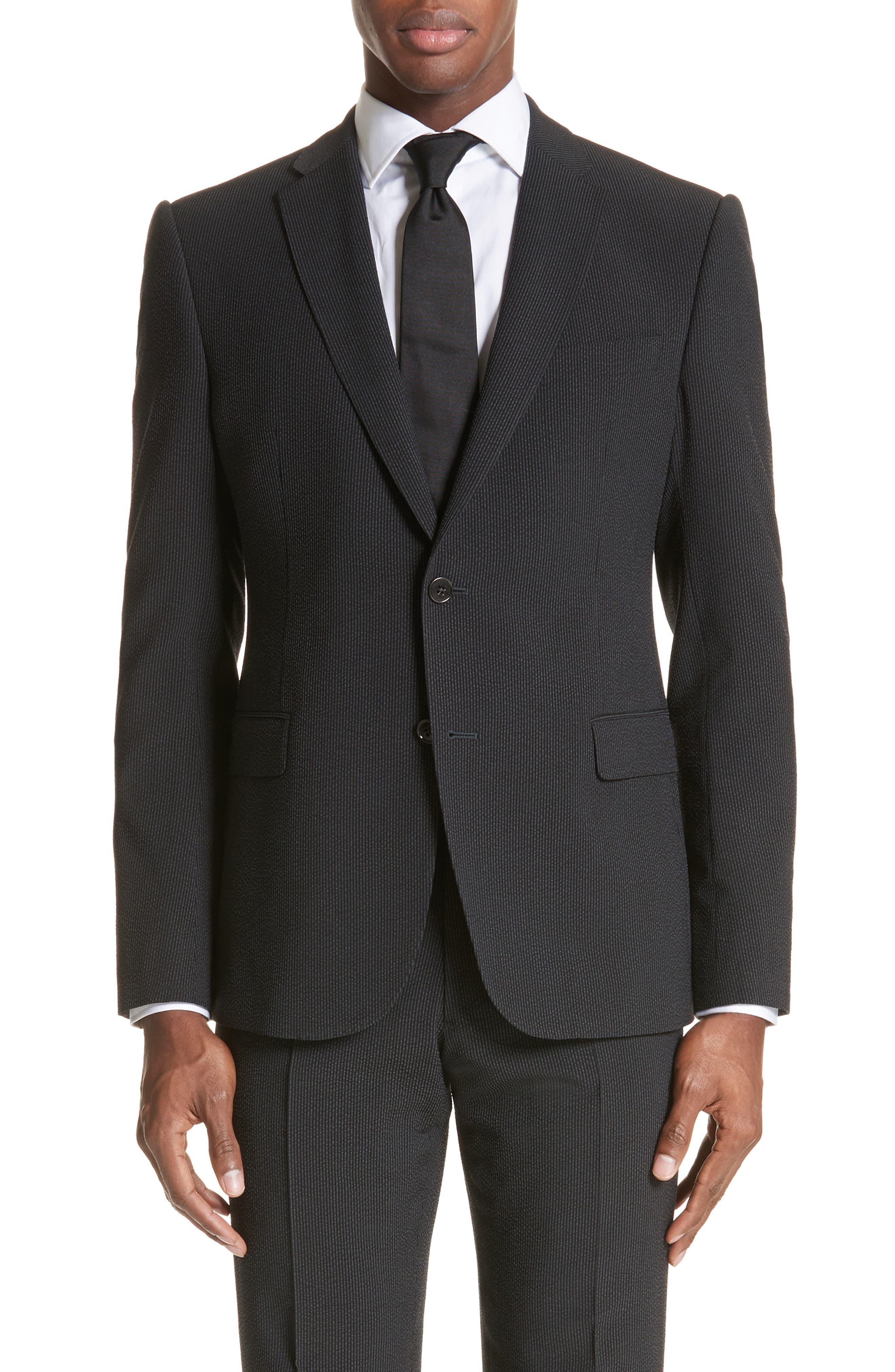 M Line Trim Fit Stretch Seersucker Wool Blend Suit,                             Alternate thumbnail 5, color,                             Grey