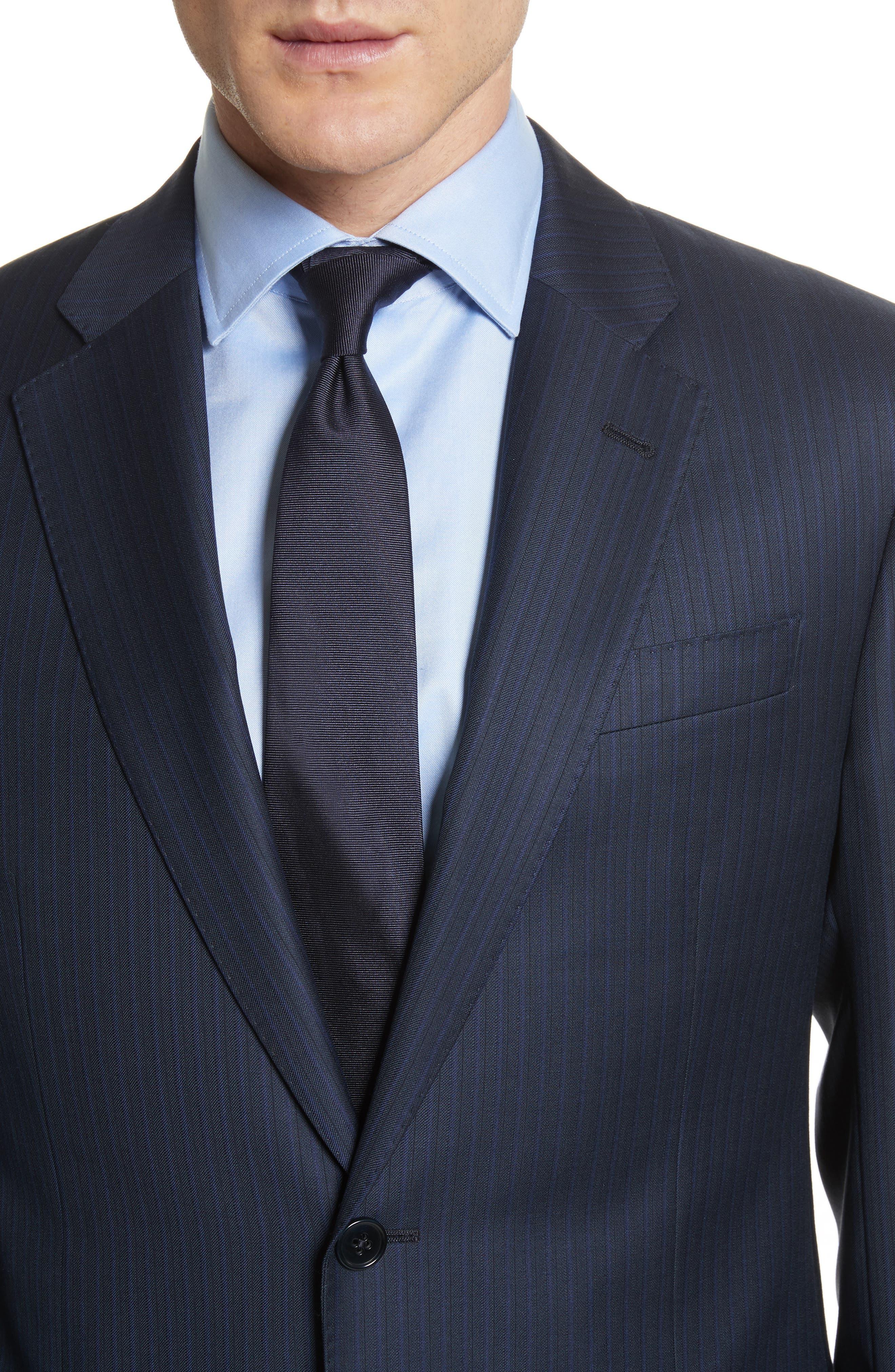 G Line Trim Fit Stripe Wool Suit,                             Alternate thumbnail 4, color,                             Blue