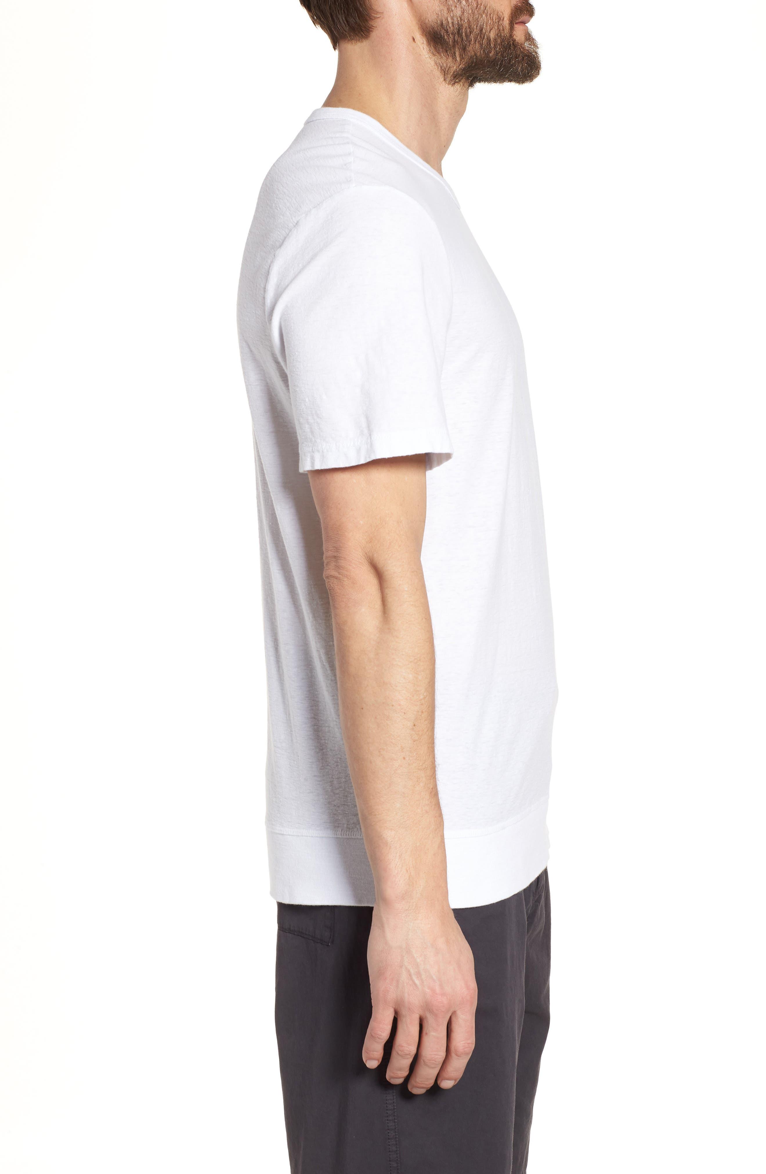 Regular Fit Slub Crewneck T-Shirt,                             Alternate thumbnail 3, color,                             White