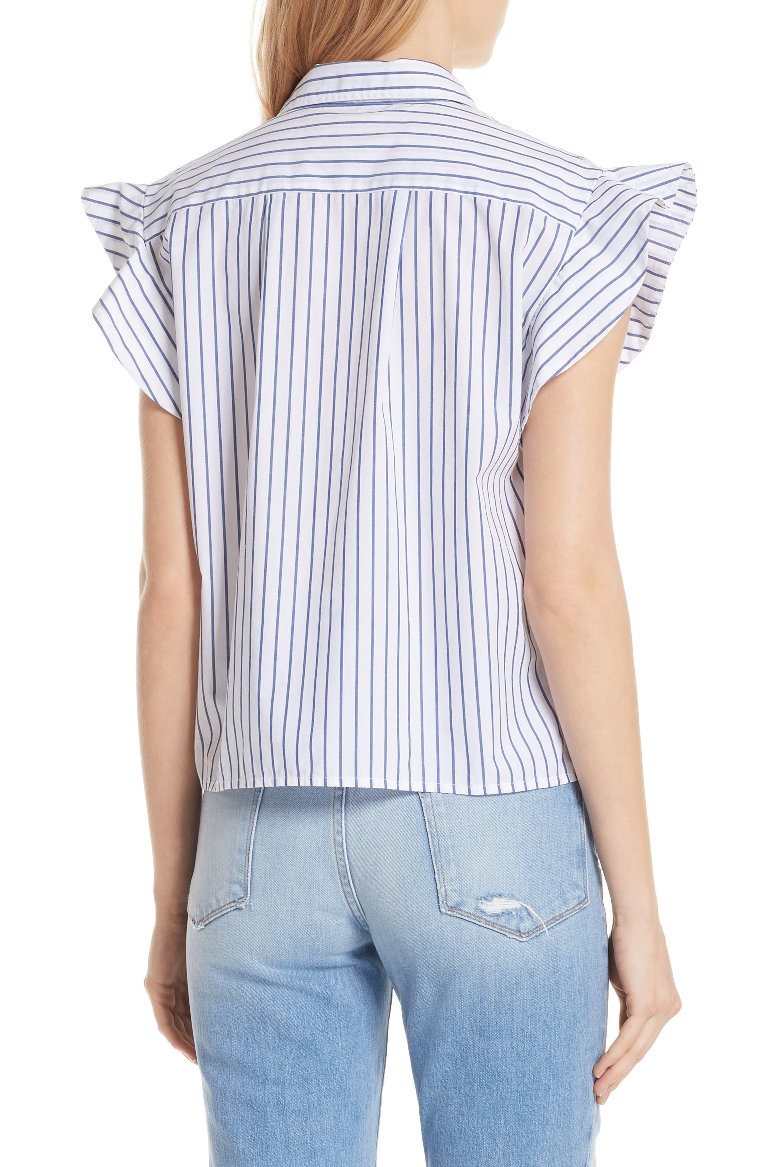 Flutter Sleeve Stripe Shirt,                             Alternate thumbnail 2, color,                             Blanc Multi