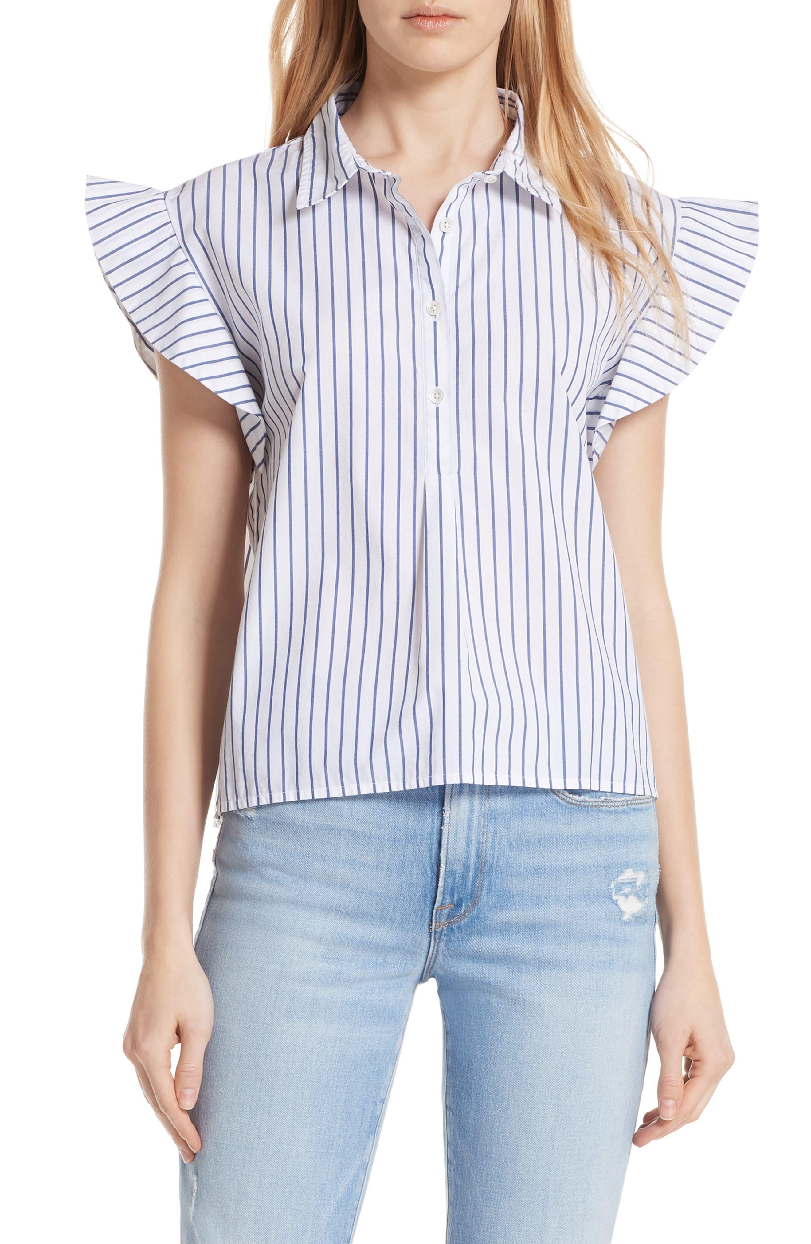 Flutter Sleeve Stripe Shirt,                         Main,                         color, Blanc Multi