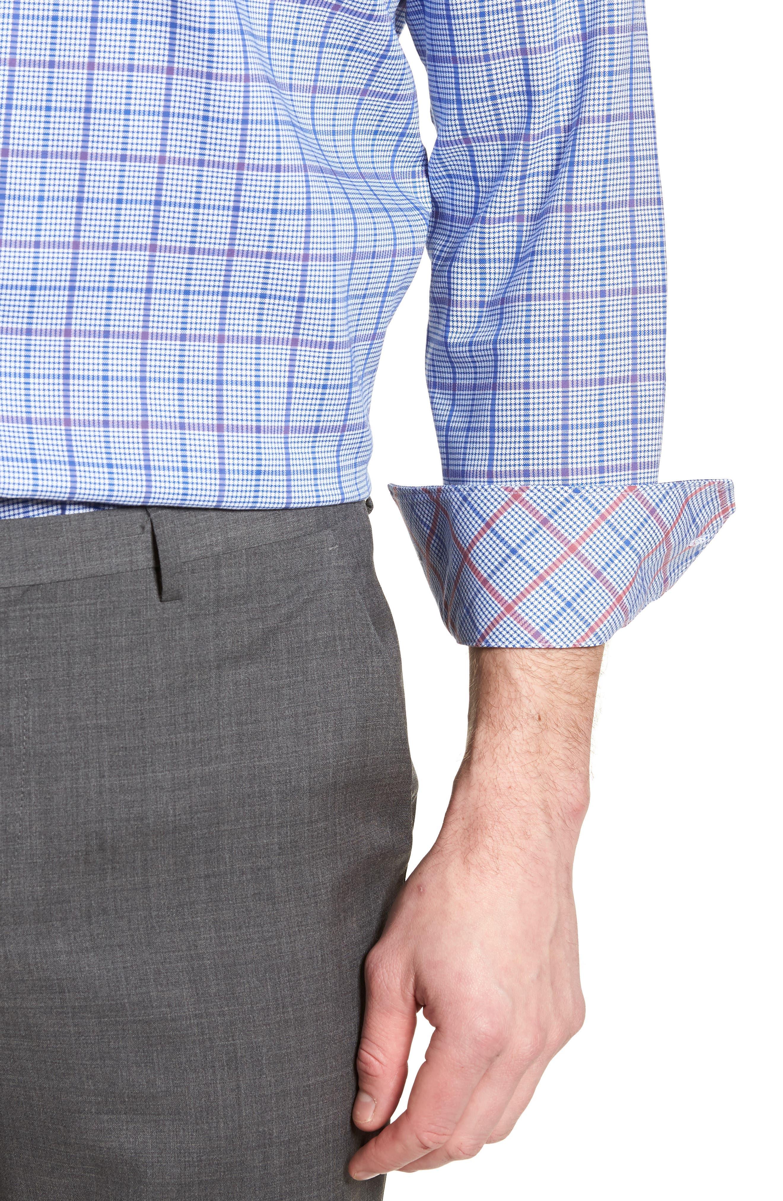 Kaden Trim Fit Plaid Dress Shirt,                             Alternate thumbnail 2, color,                             Royal