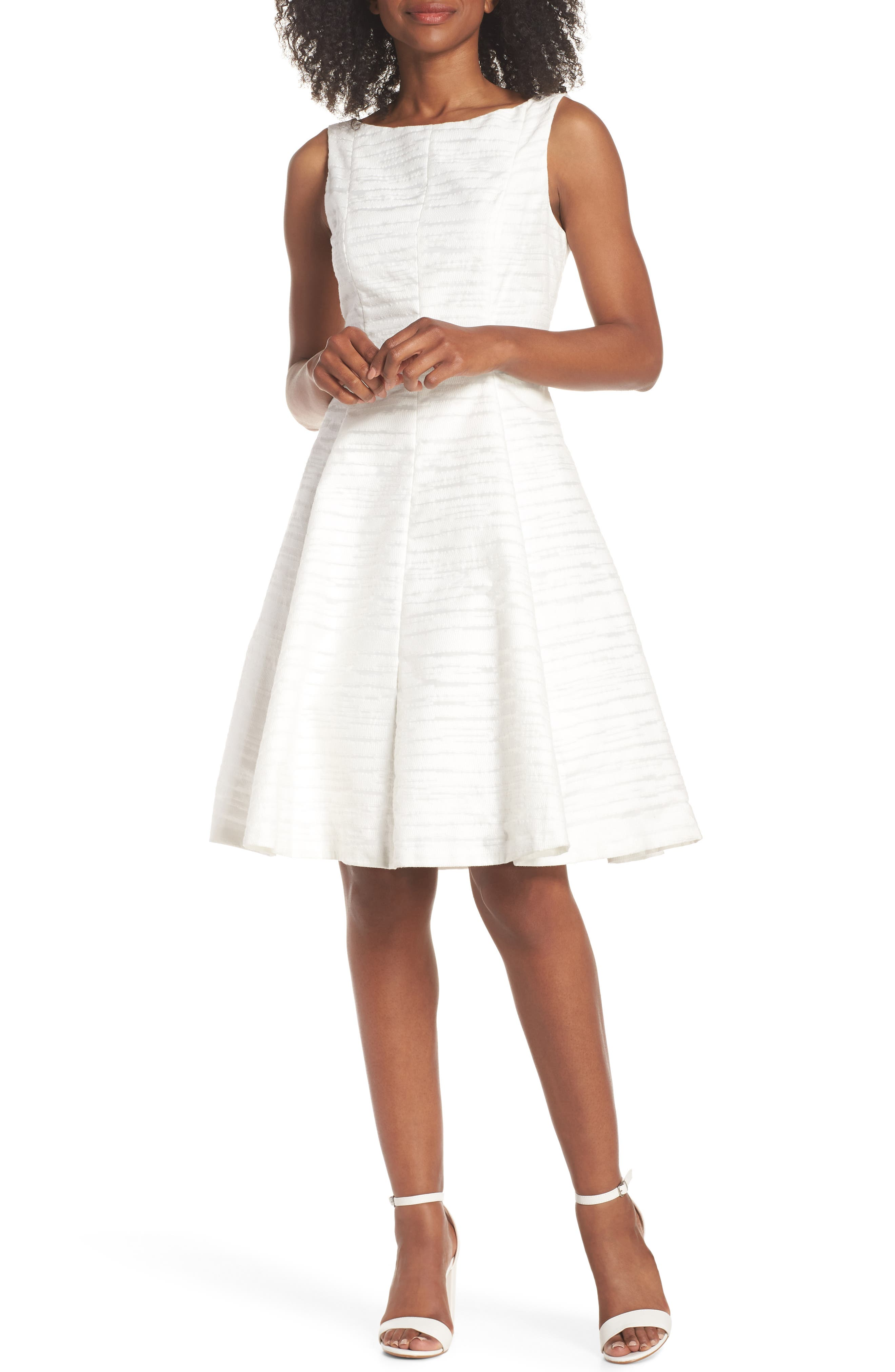 Sleeveless Jacquard Fit & Flare Dress,                         Main,                         color, White