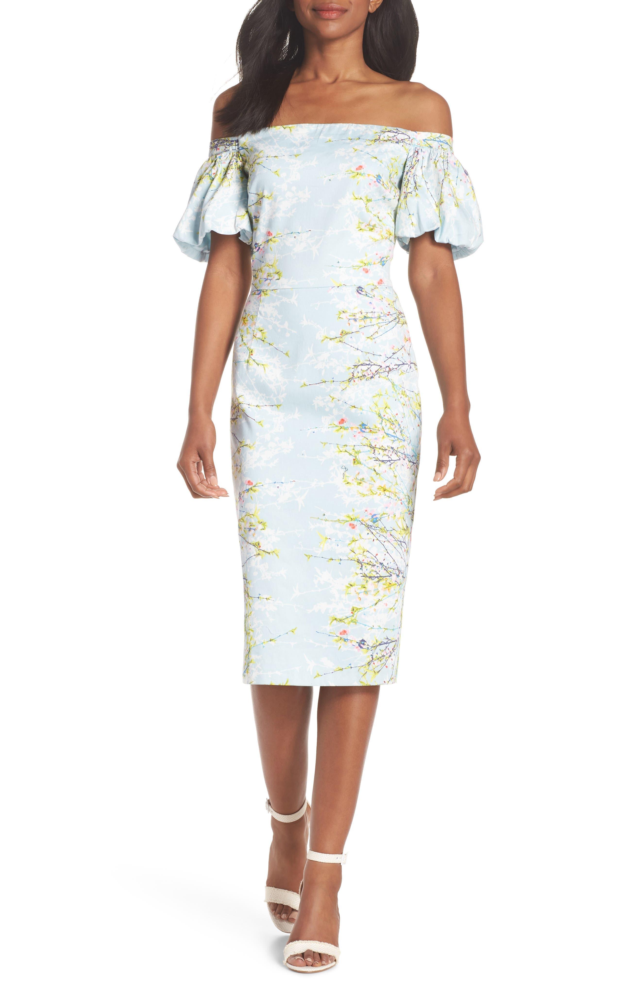 Blossom Off the Shoulder Sheath Dress,                         Main,                         color, Baby Blue/ Aqua Multi