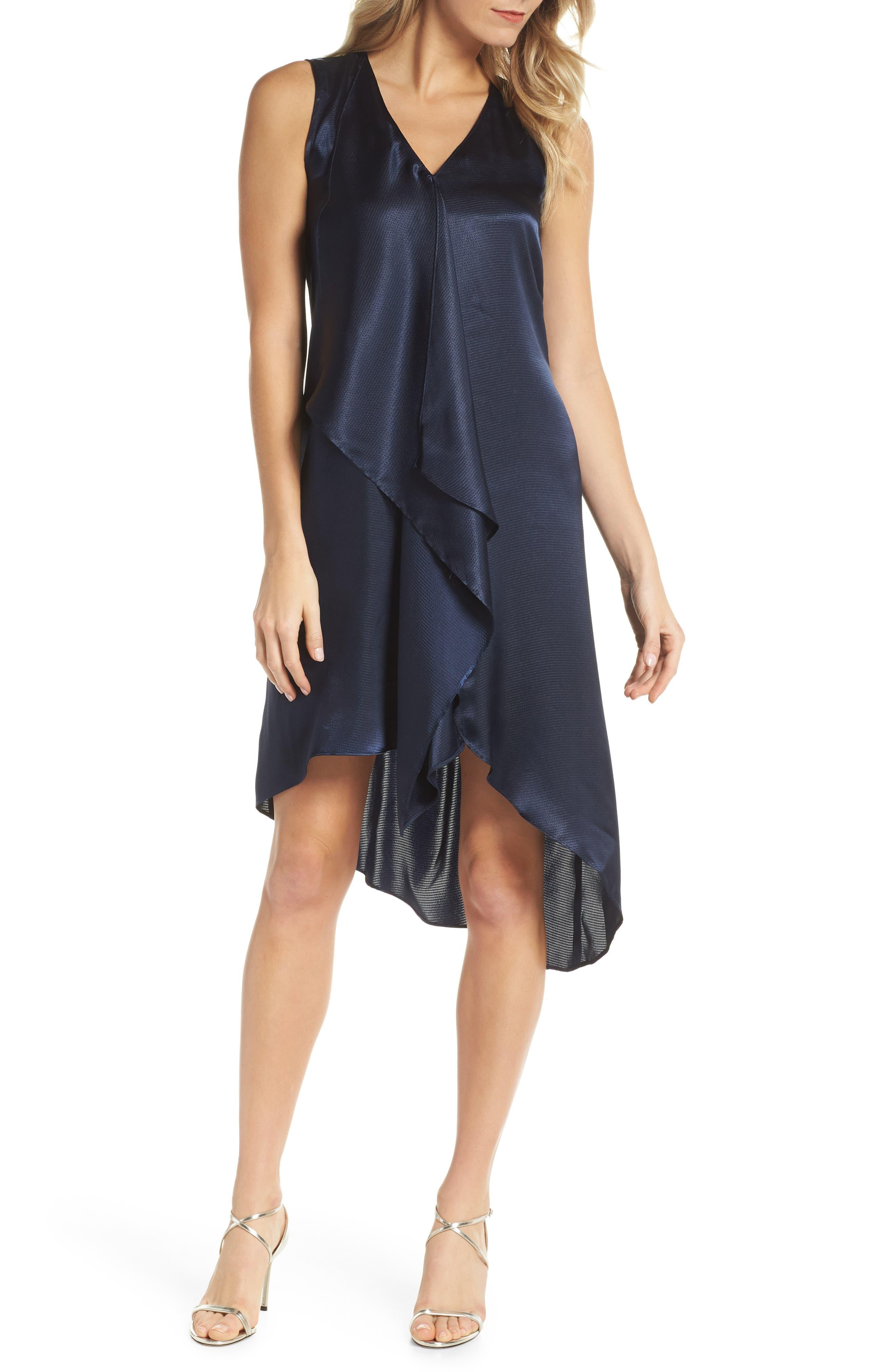 Asymmetrical Sleeveless Trapeze Dress,                         Main,                         color, Blue Moon
