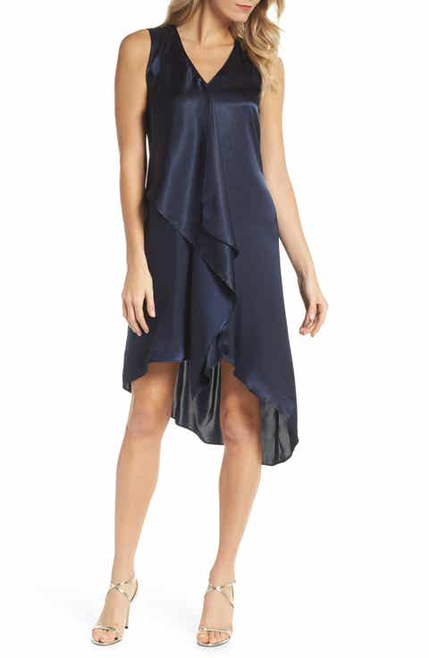 Adrianna Papell Asymmetrical Sleeveless Trapeze Dress