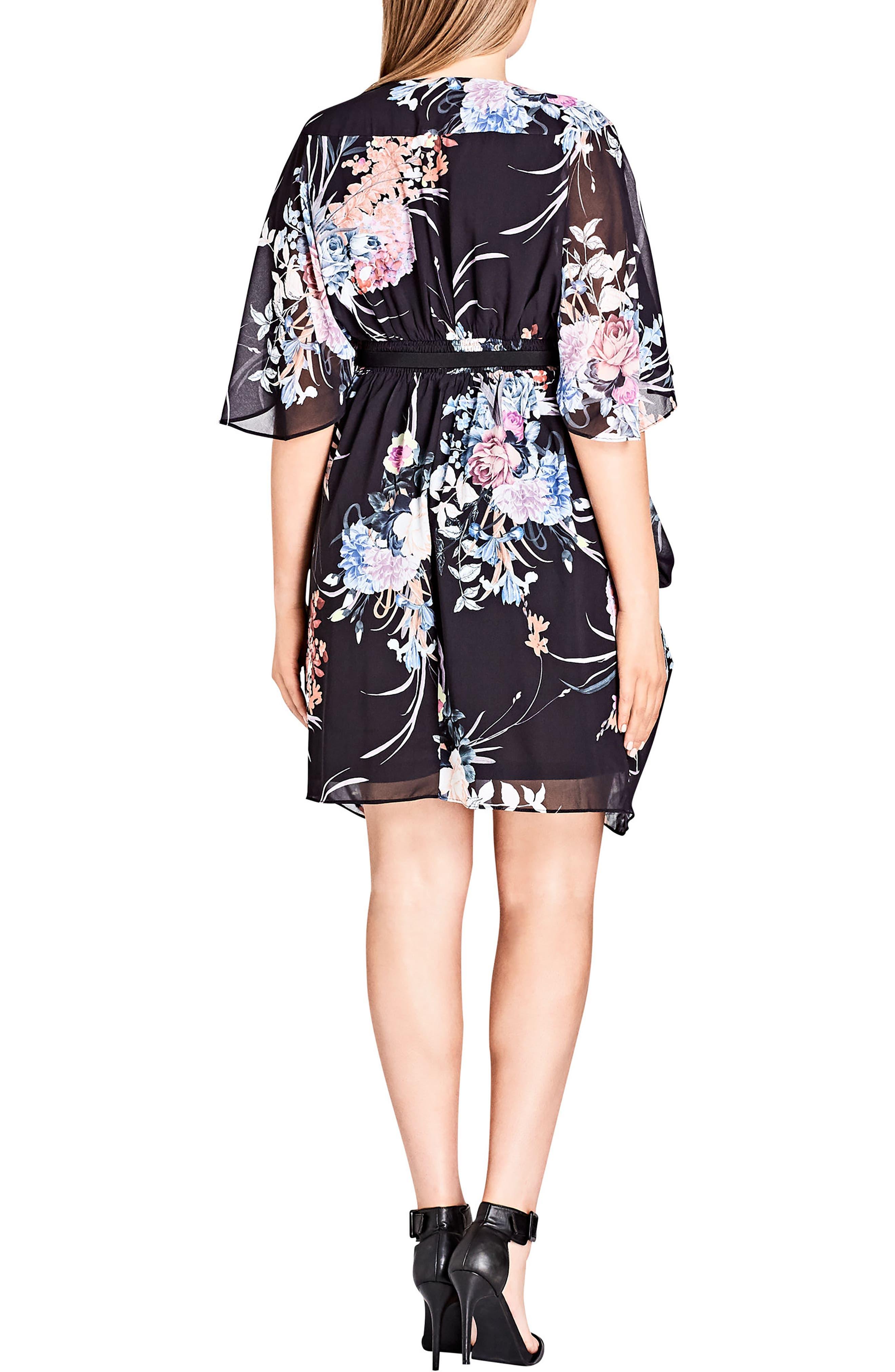 Wrap Flourish Shift Dress,                             Alternate thumbnail 2, color,                             Flourish