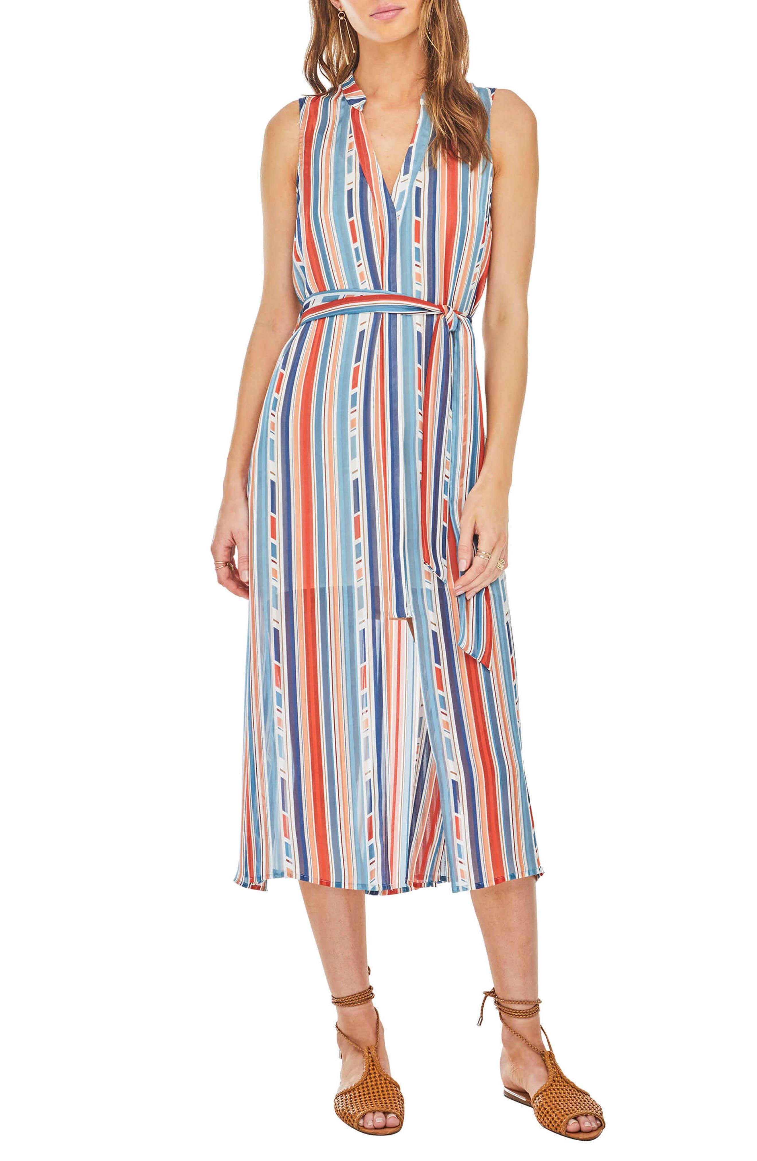 Kendall Midi Shirtdress,                             Main thumbnail 1, color,                             Geo Multi Stripe
