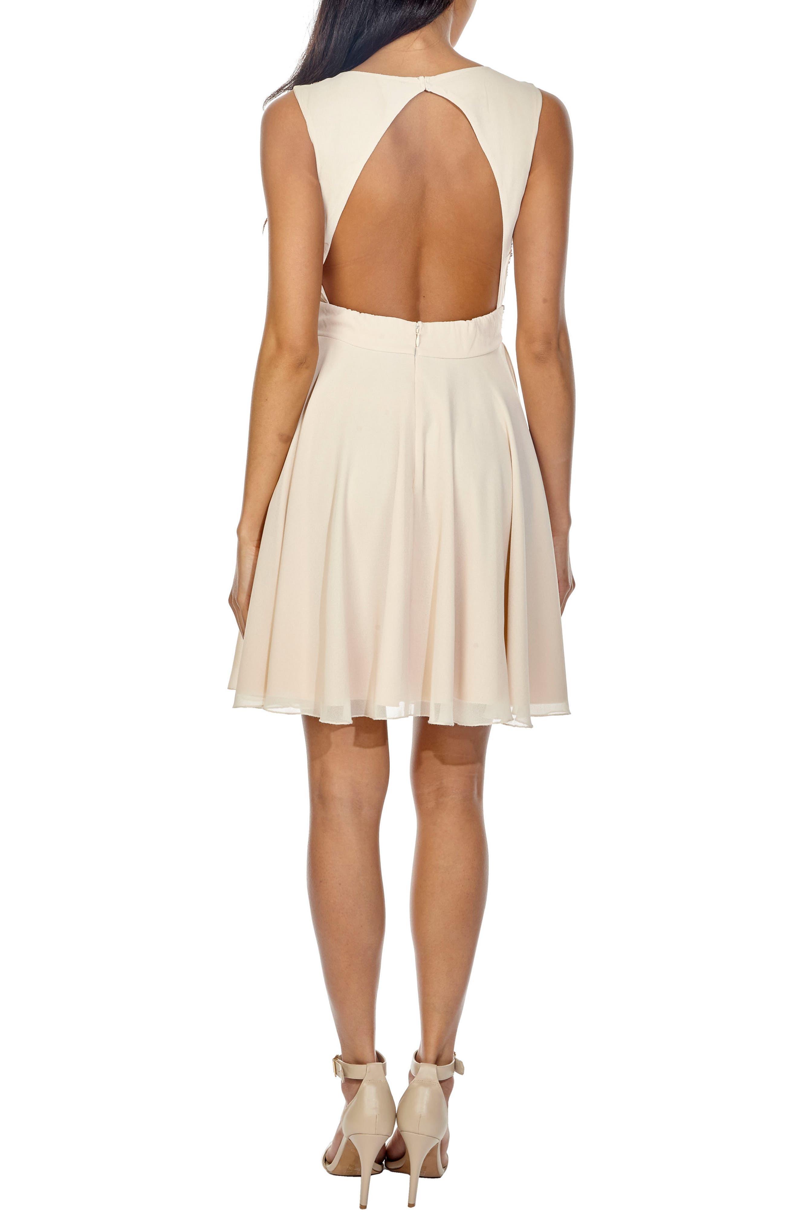 Corals Sequin Back Cutout Dress,                             Alternate thumbnail 3, color,                             Cream