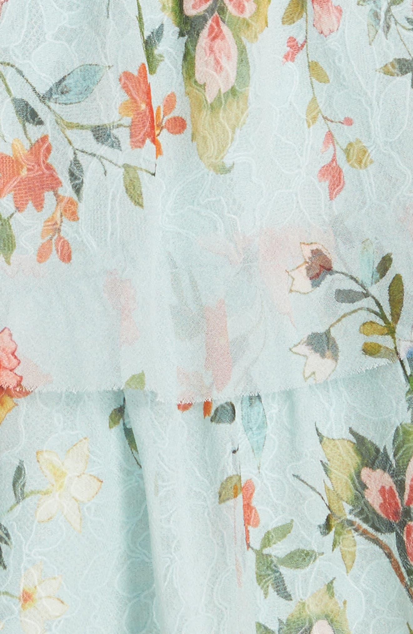 Santos Cold Shoulder Tiered Silk Dress,                             Alternate thumbnail 5, color,                             Floral Soiree-Dusty Aqua