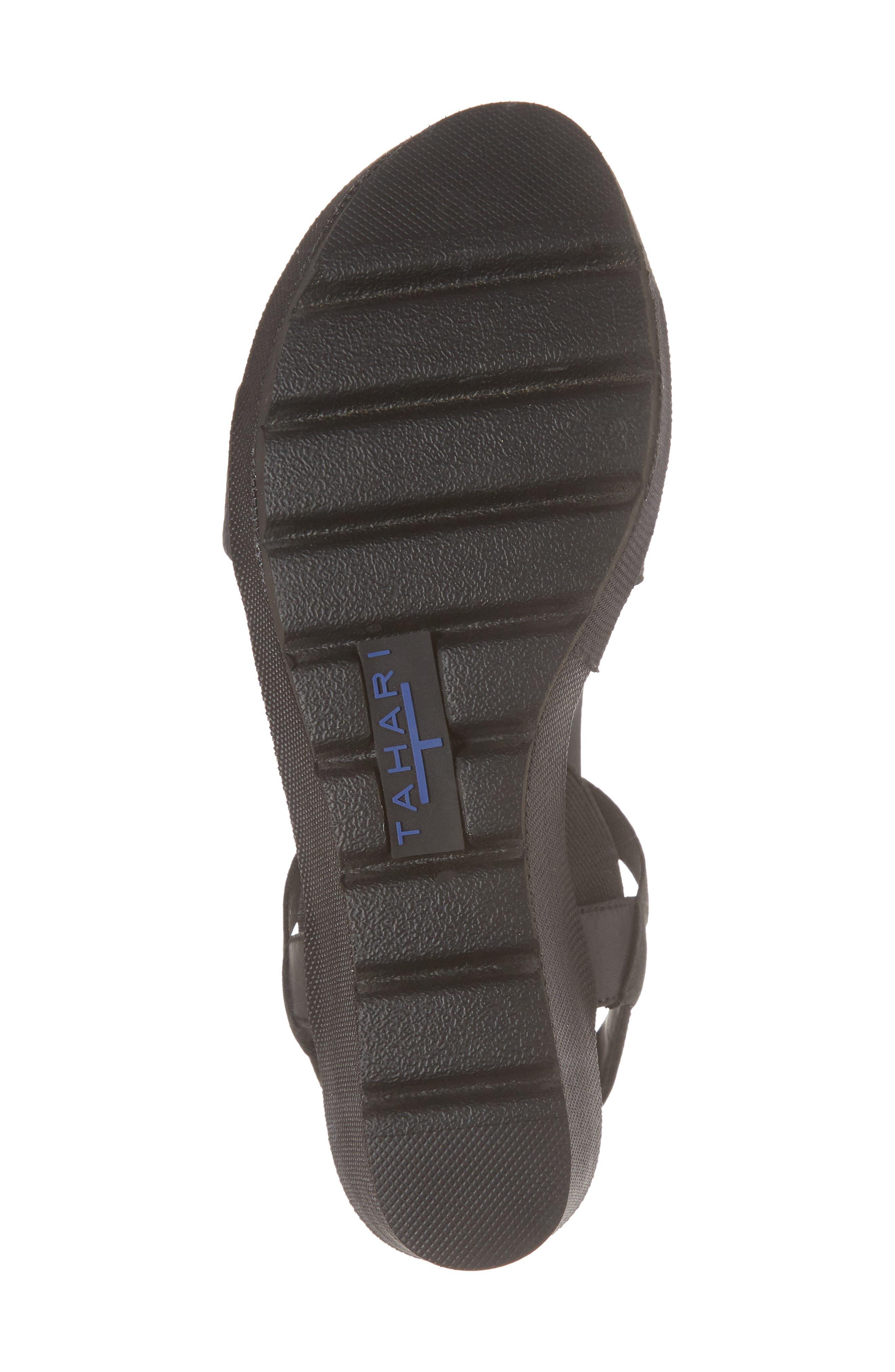 TT-Gabel Sandal,                             Alternate thumbnail 6, color,                             Black Leather