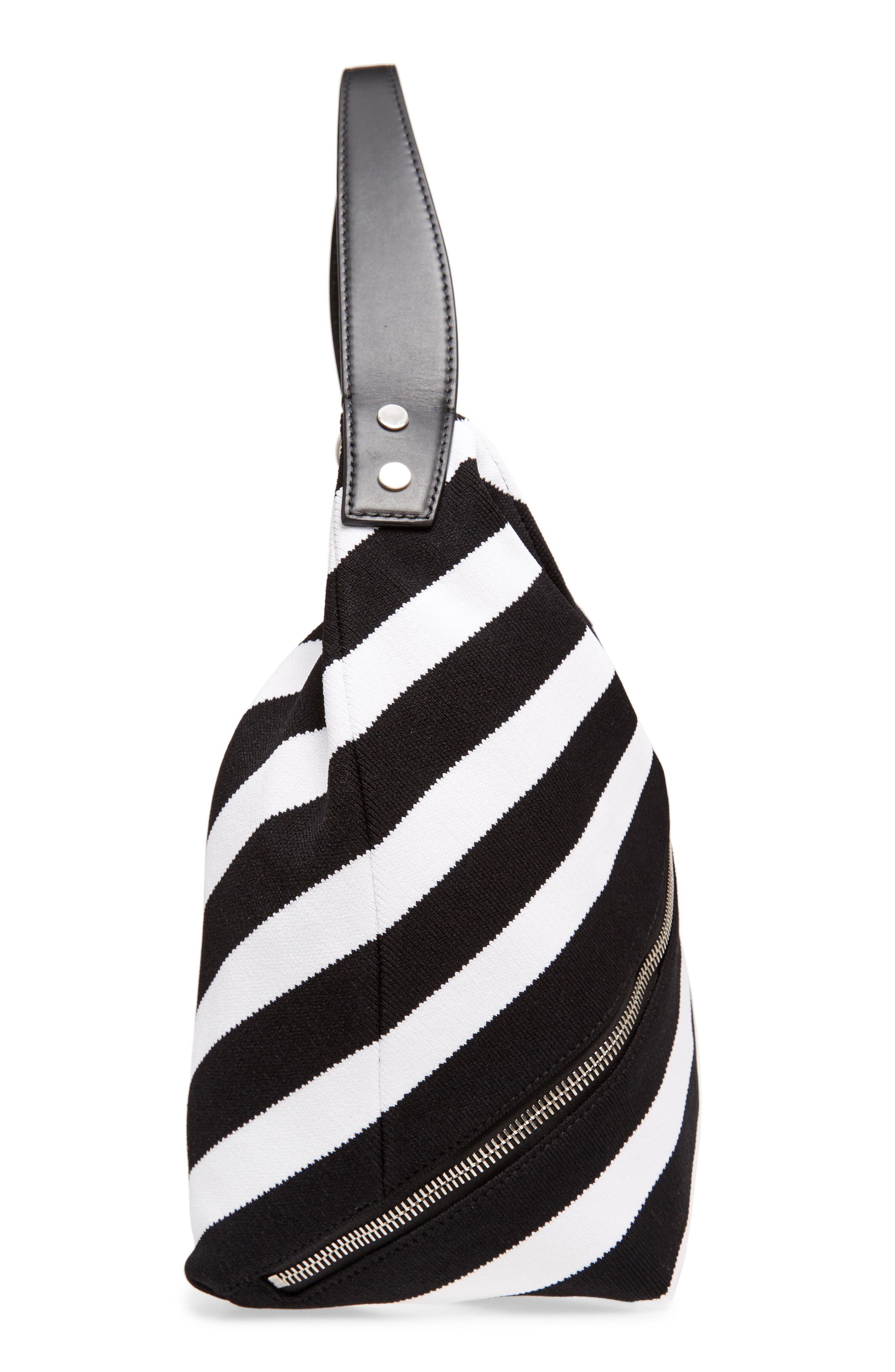 Medium Asymmetric Zip Stripe Textile Hobo,                             Alternate thumbnail 5, color,                             Black/ Ecru